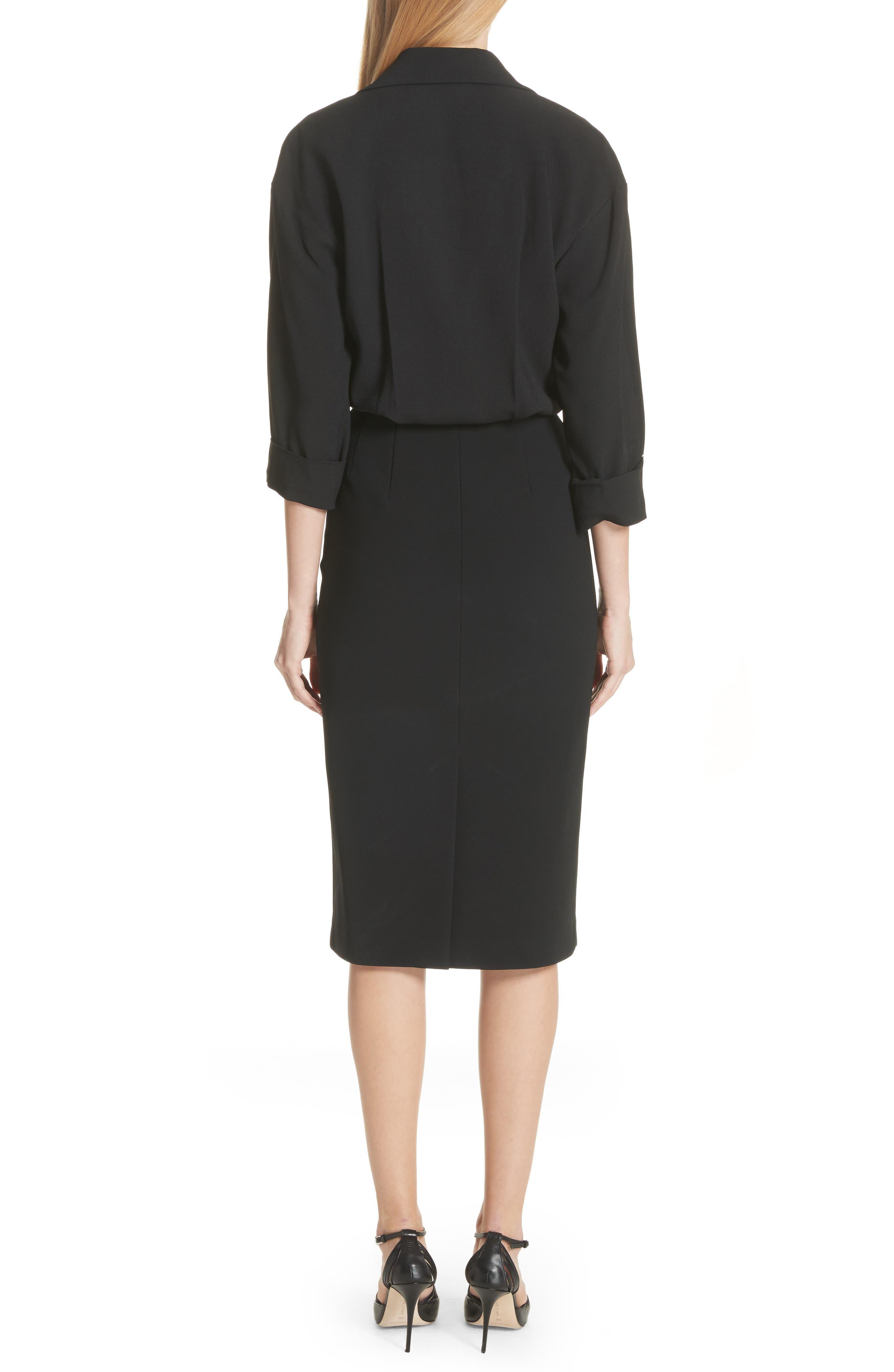 Ruched Blouson Dress,                             Alternate thumbnail 2, color,                             Black