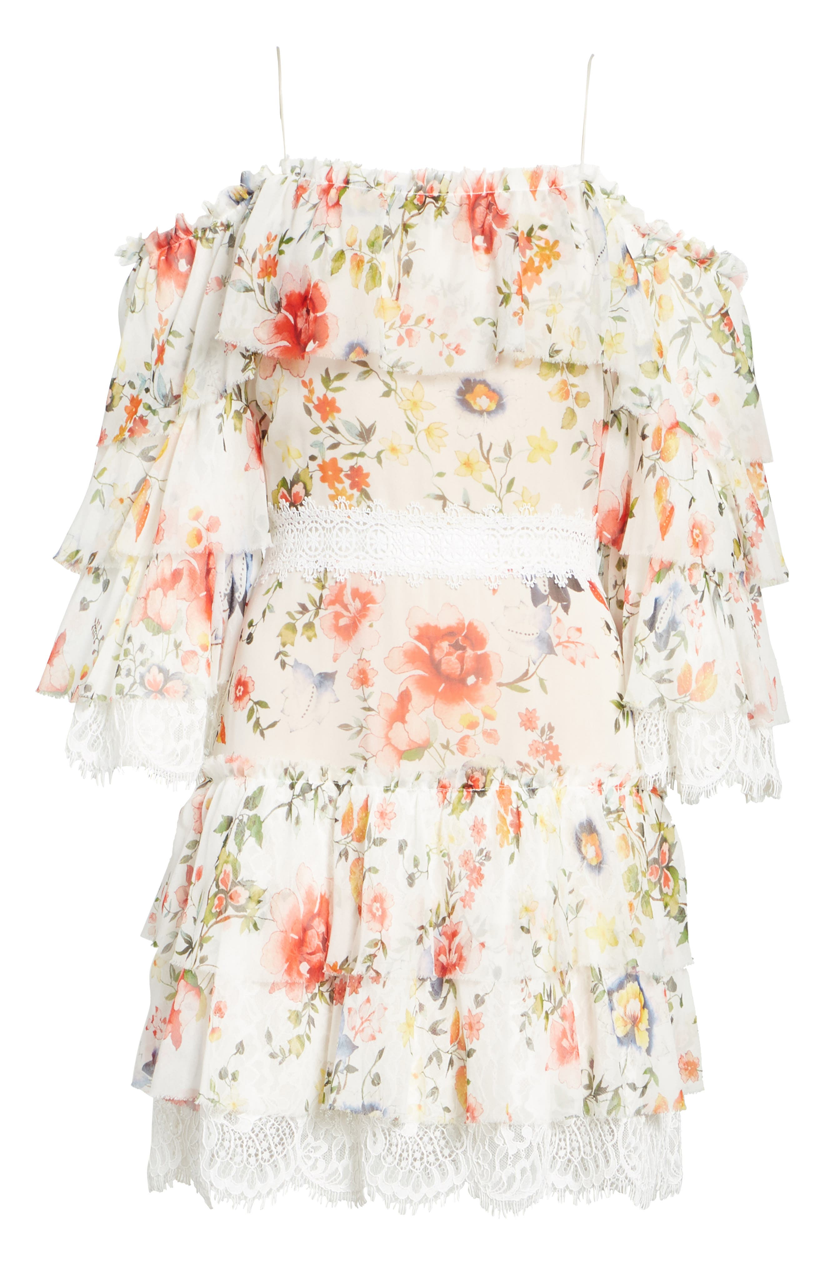 Santos Cold Shoulder Floral Silk Dress,                             Alternate thumbnail 6, color,                             Floral Soiree