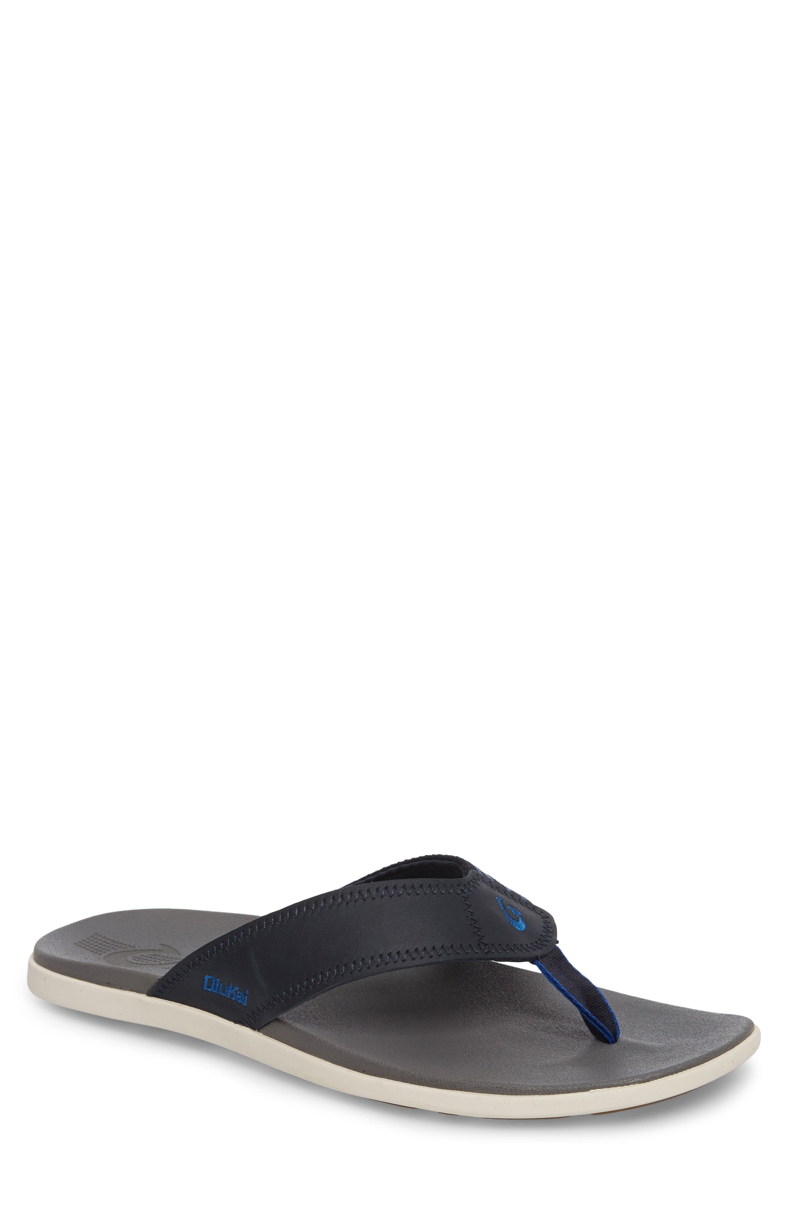 Kinona Flip Flop,                         Main,                         color, Trench Blue/ Charcoal Leather