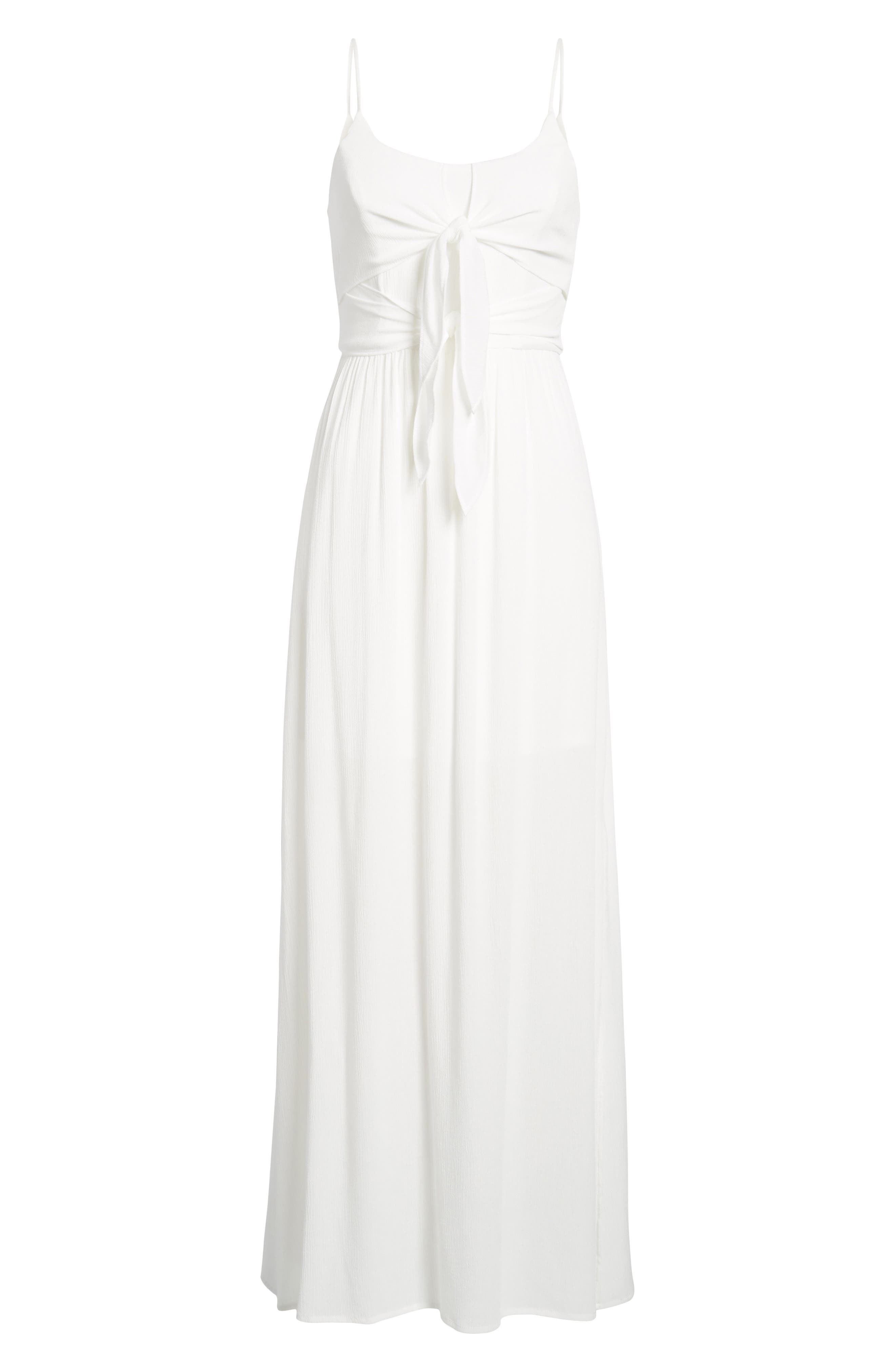 Tie Front Maxi Dress,                             Alternate thumbnail 6, color,                             Ivory