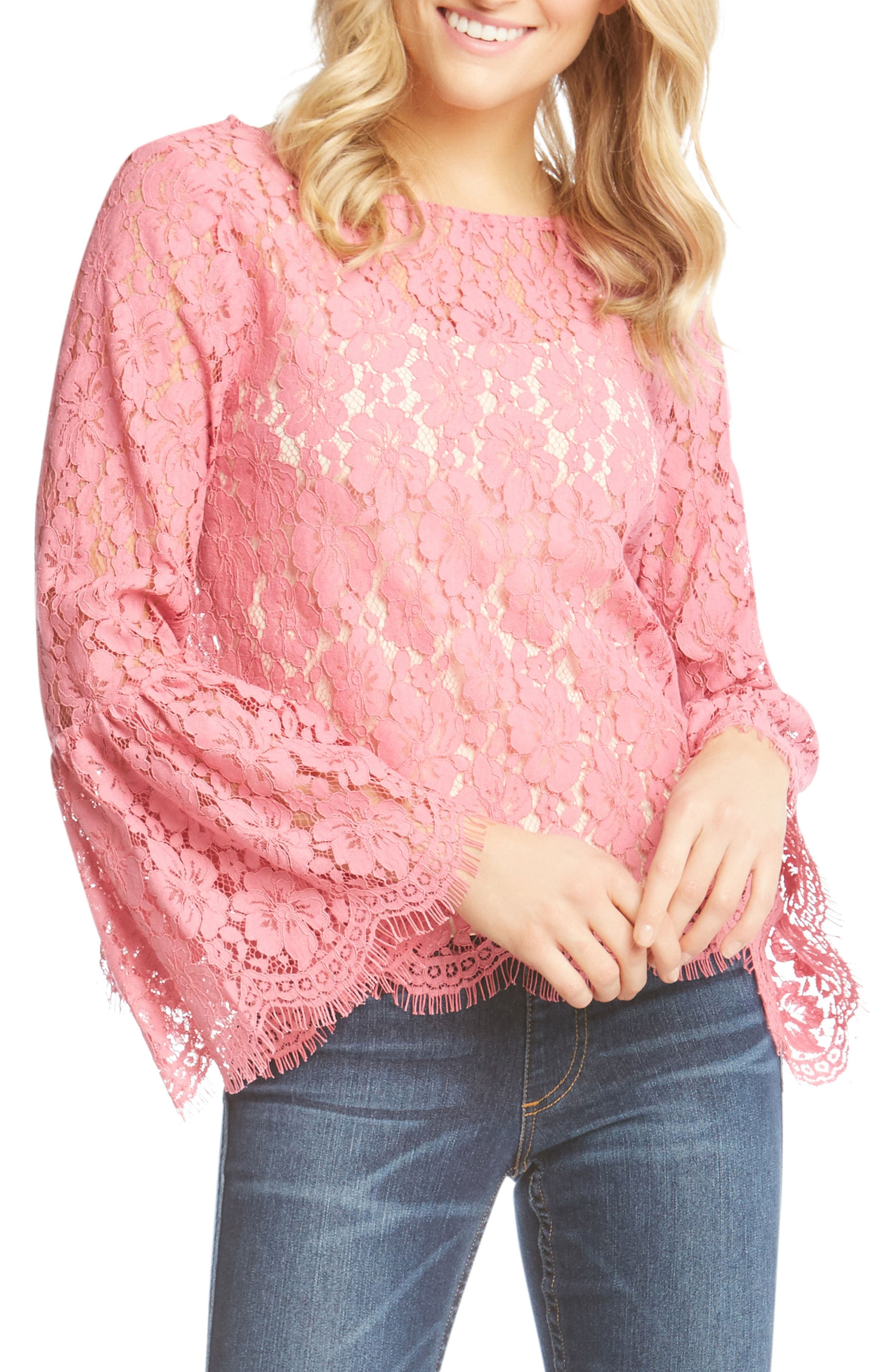 Bell Sleeve Lace Blouse,                         Main,                         color, Peony