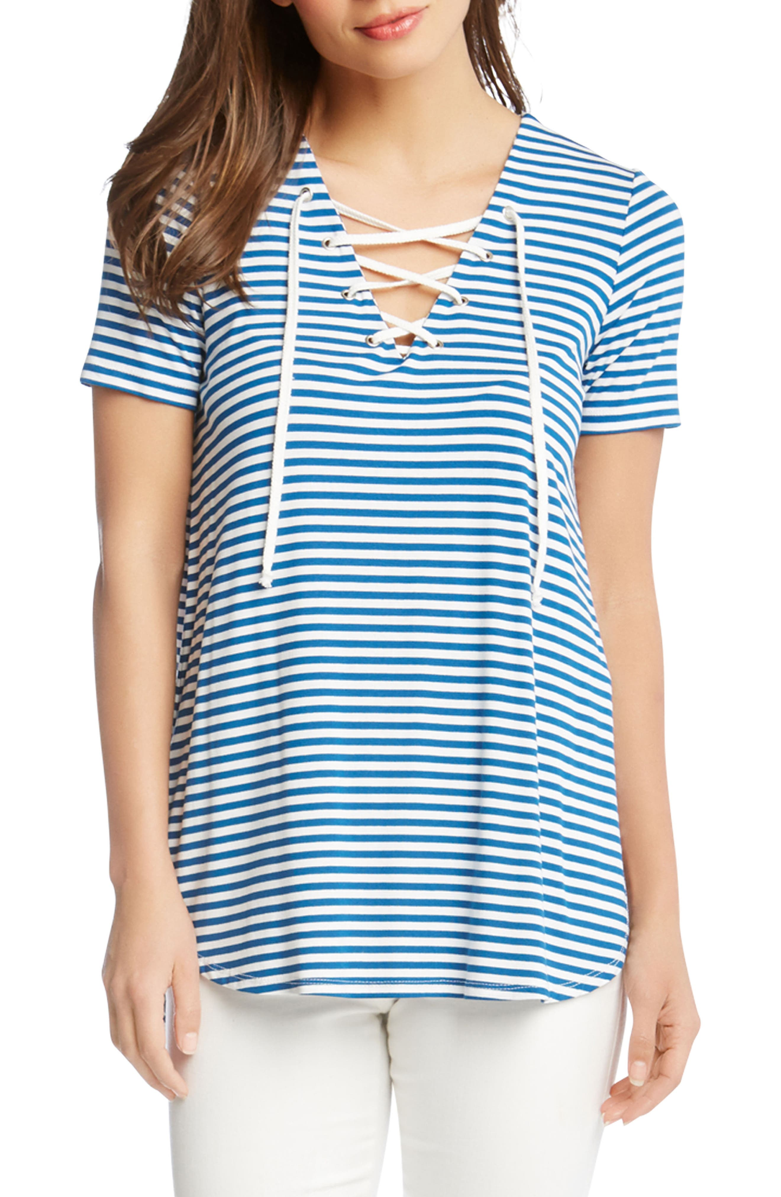 Lace-Up Stripe Top,                         Main,                         color, Stripe