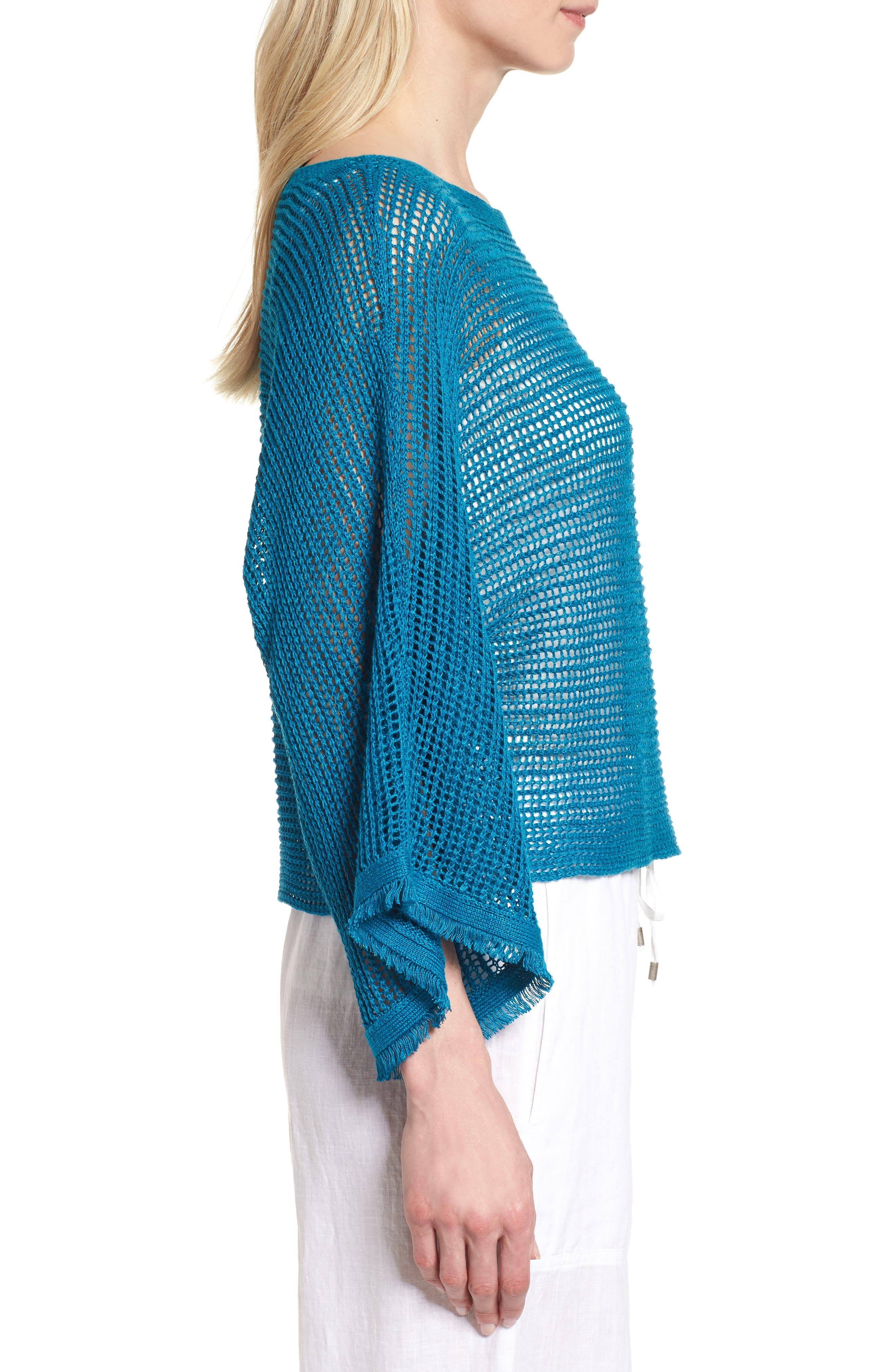 Organic Linen Short Sweater,                             Alternate thumbnail 3, color,                             Jewel
