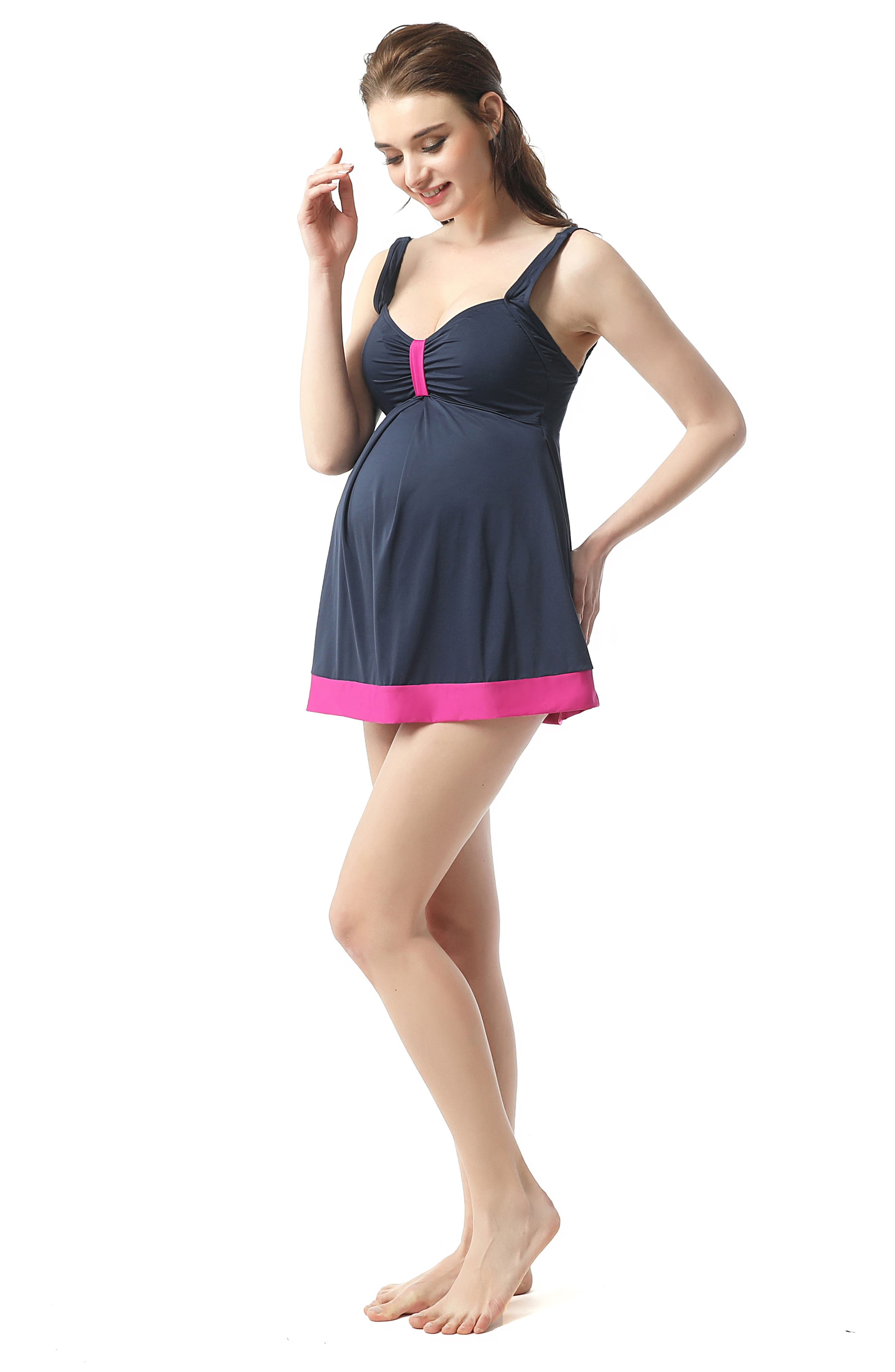 Jade Skirted Overlay One-Piece Maternity Swimsuit,                             Alternate thumbnail 4, color,
