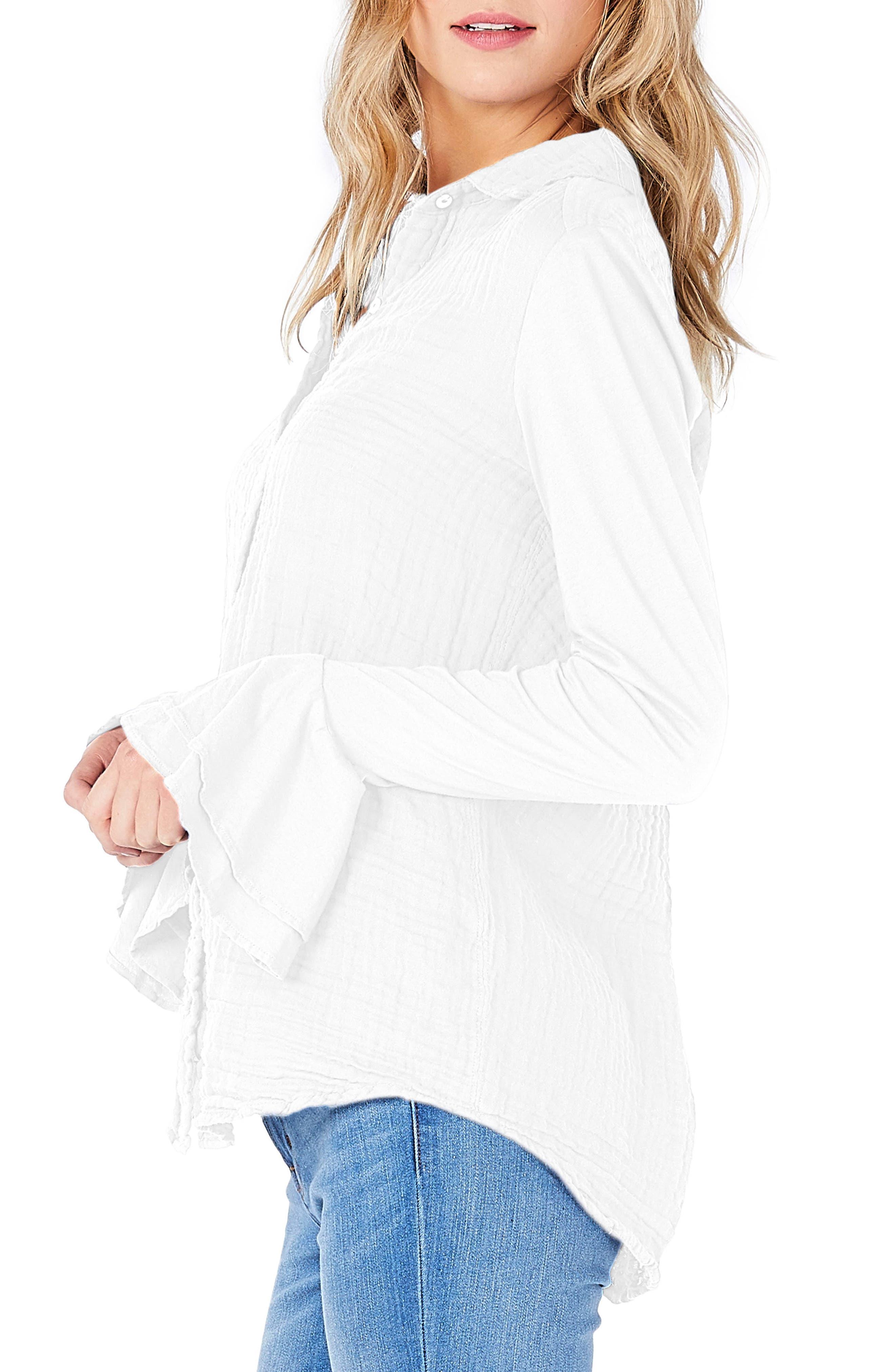 Ruffle Sleeve Shirt,                             Alternate thumbnail 3, color,                             White