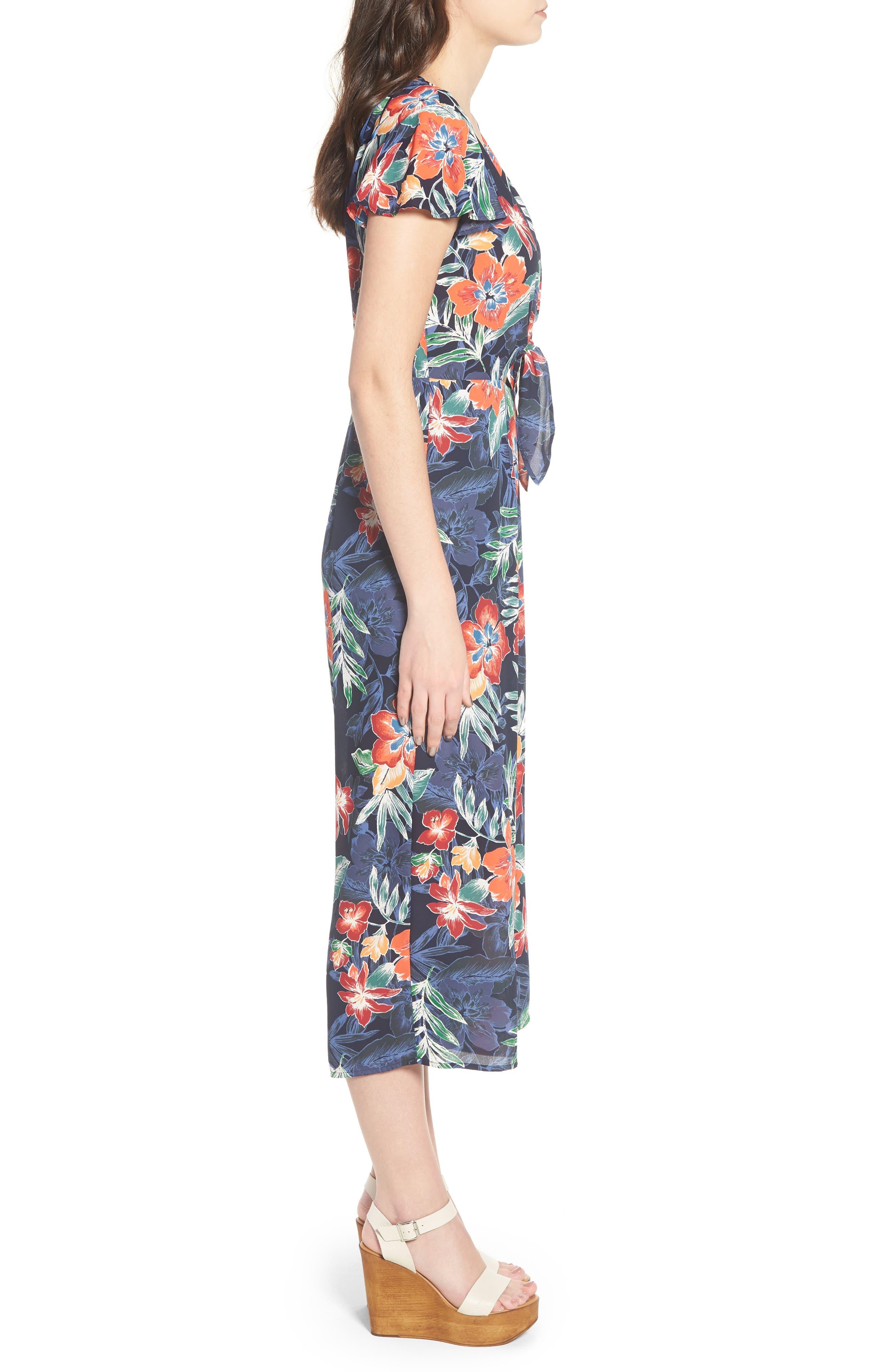Tie Front Culotte Jumpsuit,                             Alternate thumbnail 3, color,                             Navy/ Multi