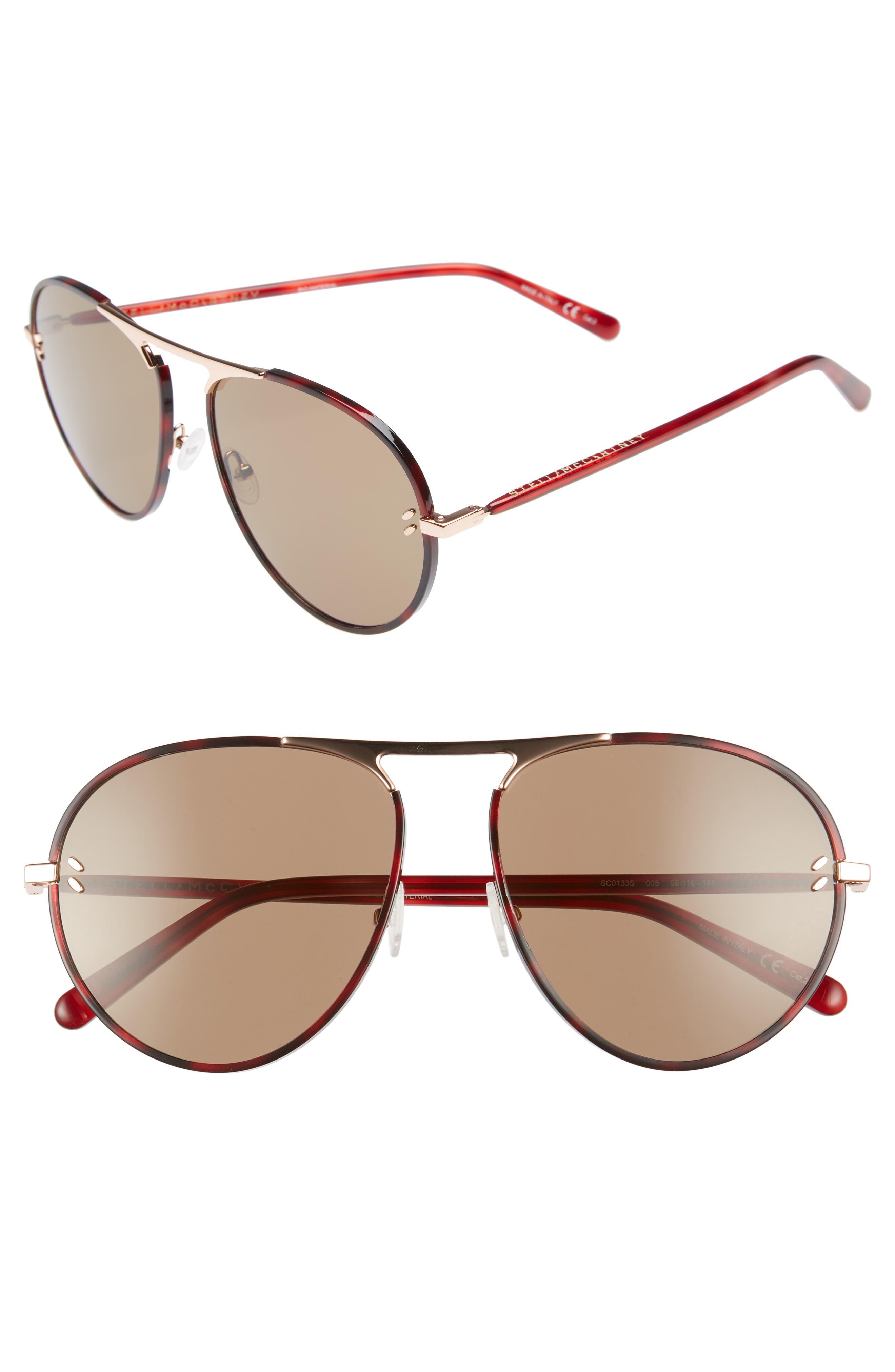 58mm Aviator Sunglasses,                         Main,                         color, Burgundy Havana