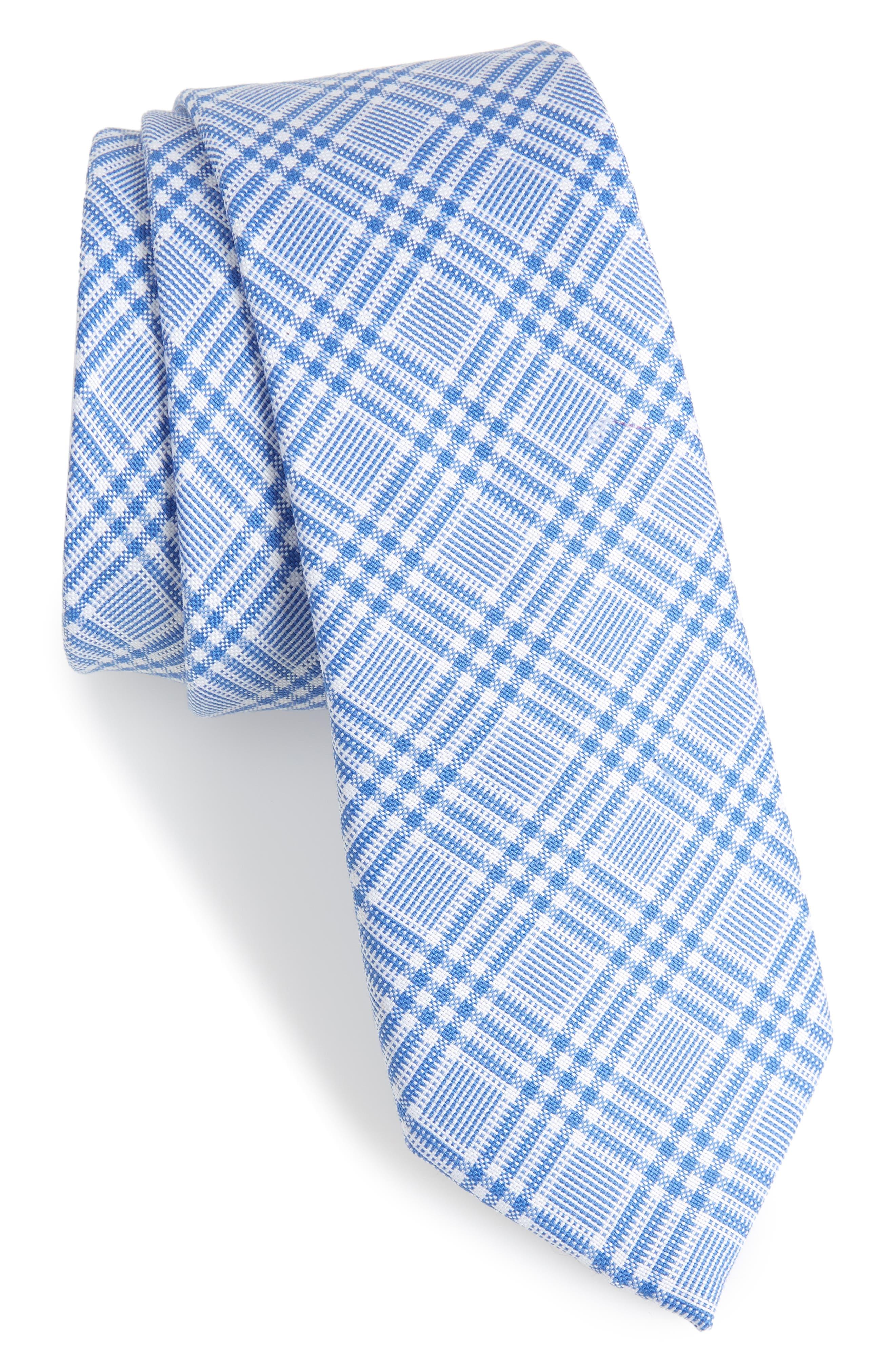 Brook Plaid Cotton Skinny Tie,                             Main thumbnail 1, color,                             Blue