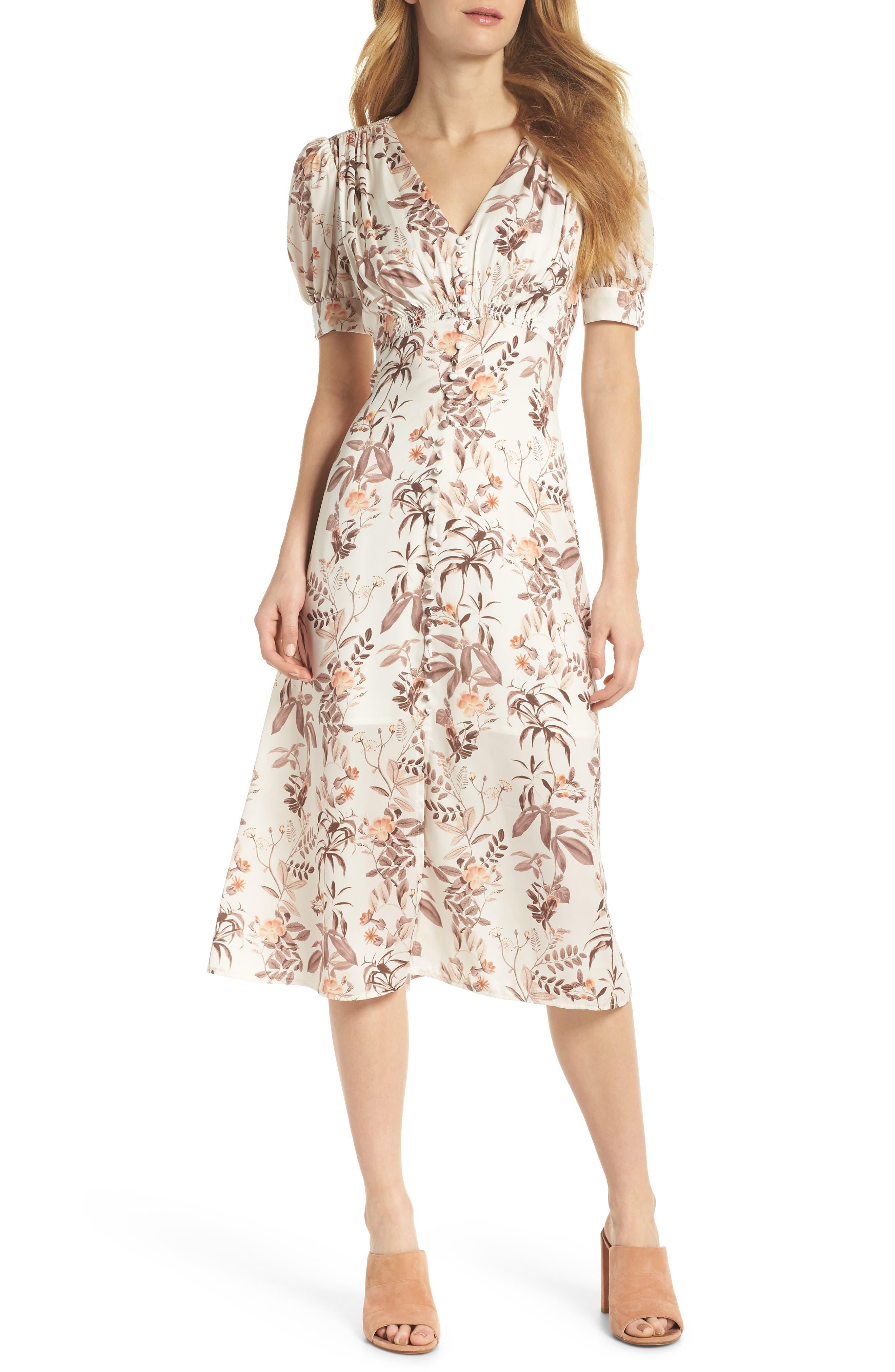 Lauren Botanical Garden Print Midi Dress,                         Main,                         color, Beige/ Orange
