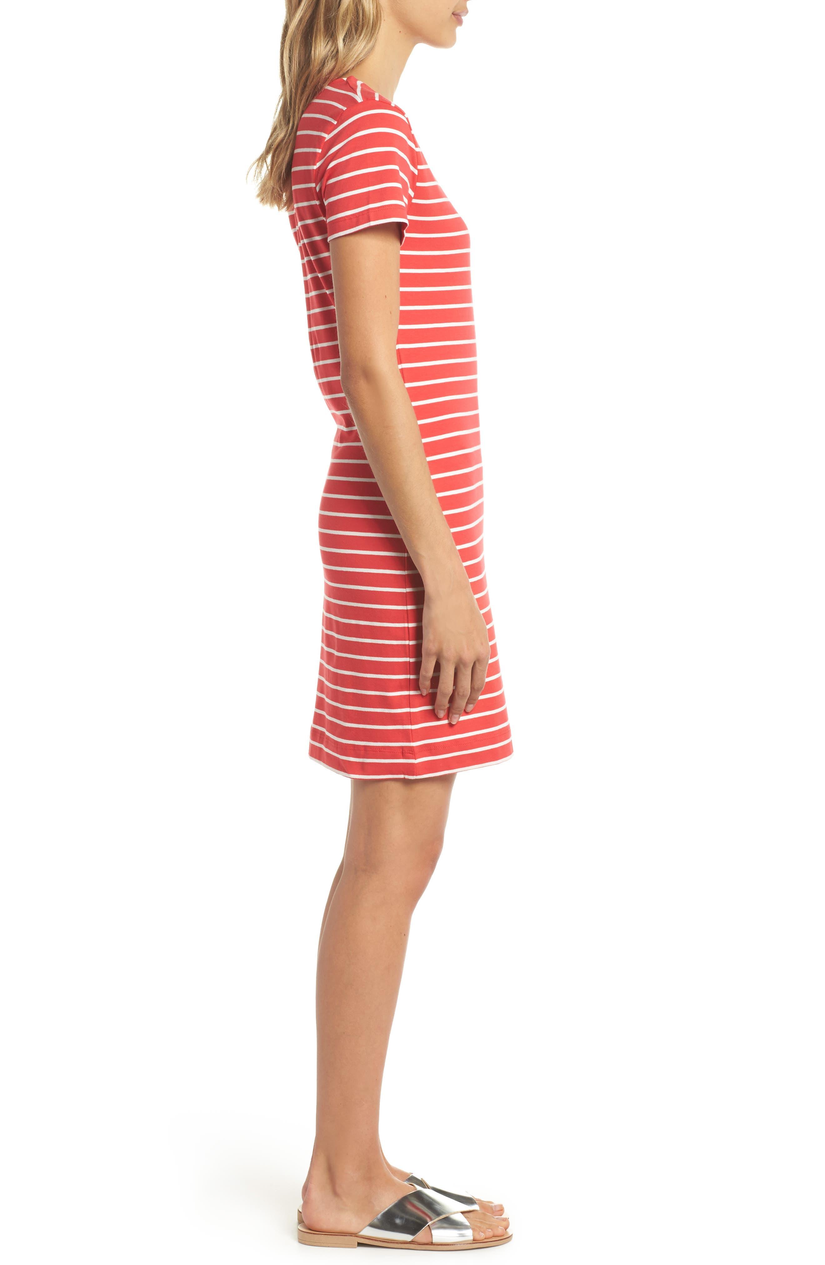 Knit Stripe Body-Con Dress,                             Alternate thumbnail 3, color,                             Shanghai Red/ Summer White