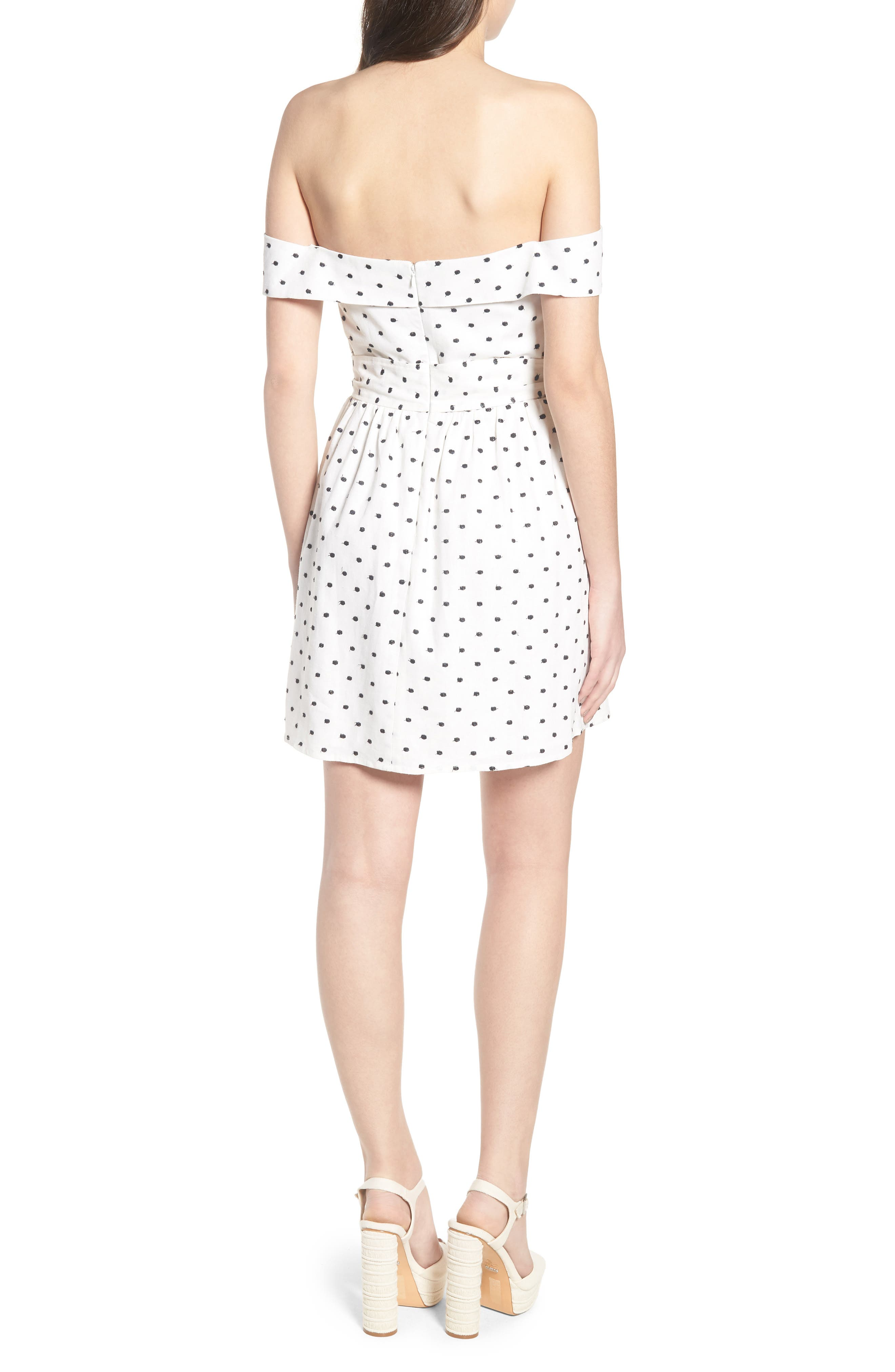 Capri Knot Cutout Minidress,                             Alternate thumbnail 3, color,                             Ivory Polka Dot