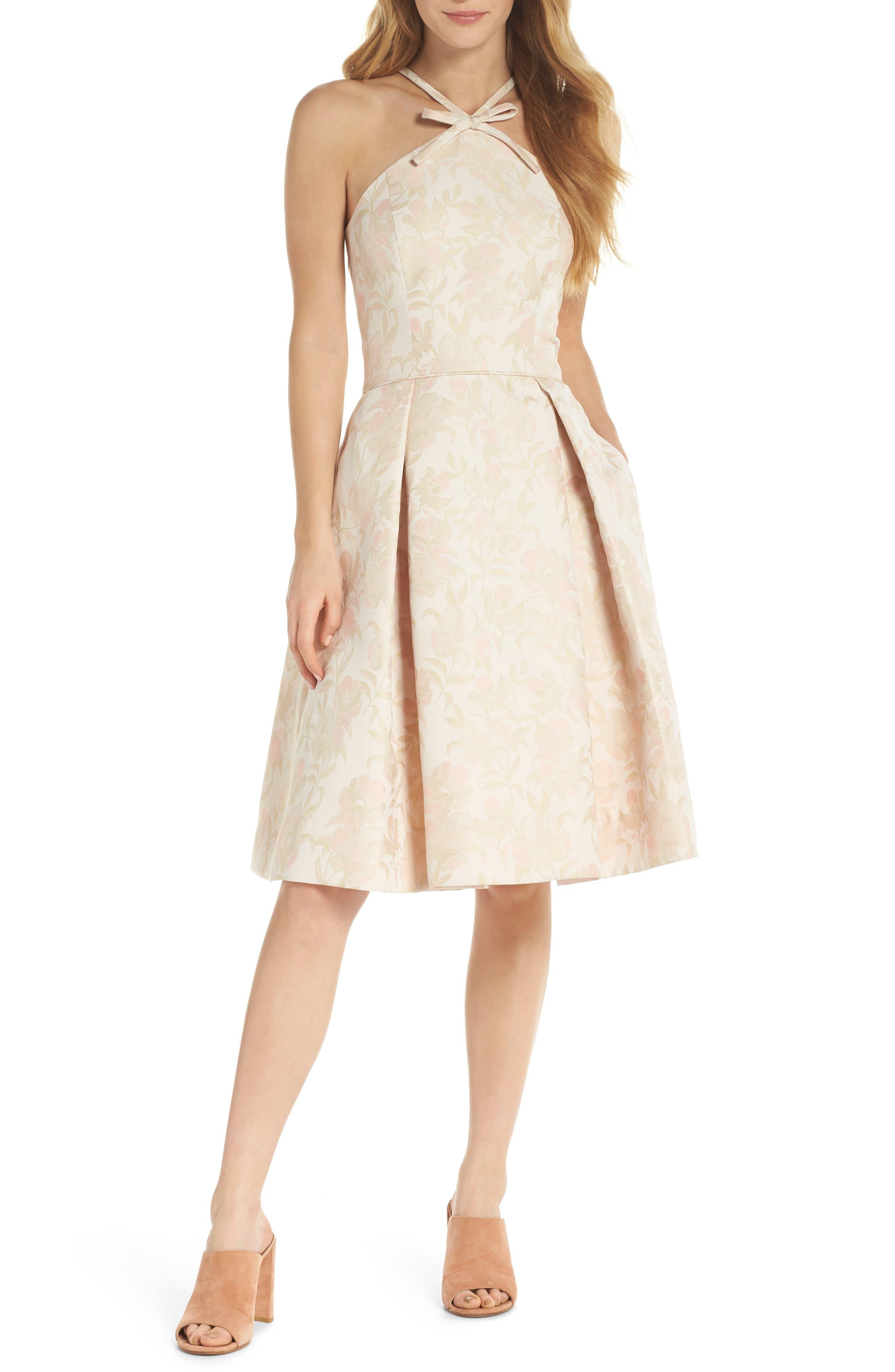 Evelyn Sea Holly Jacquard Halter Dress,                             Main thumbnail 1, color,                             Blush Combo