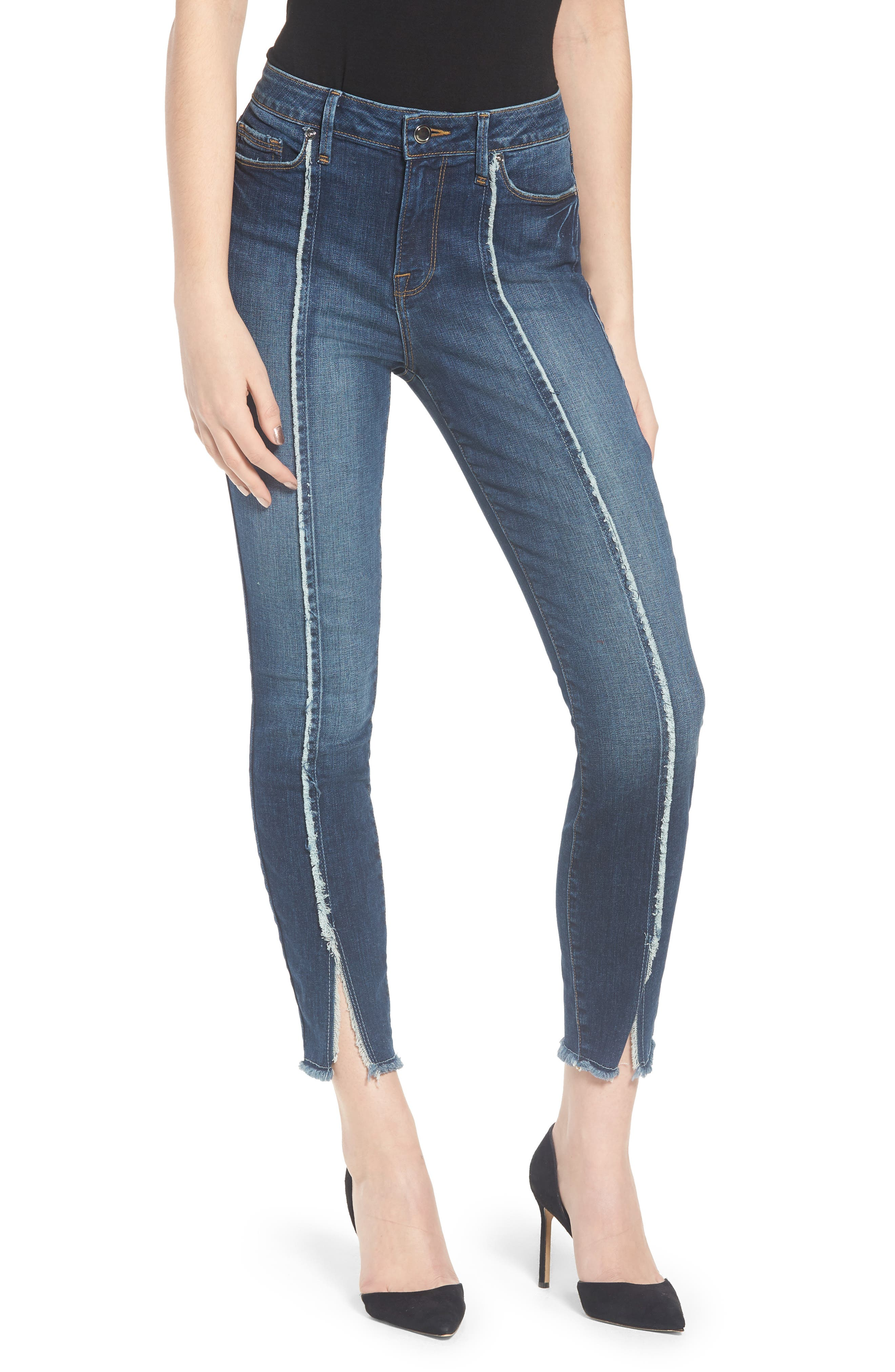 Good Jeans Raw Seam Crop Skinny Jeans,                             Main thumbnail 1, color,                             Blue135