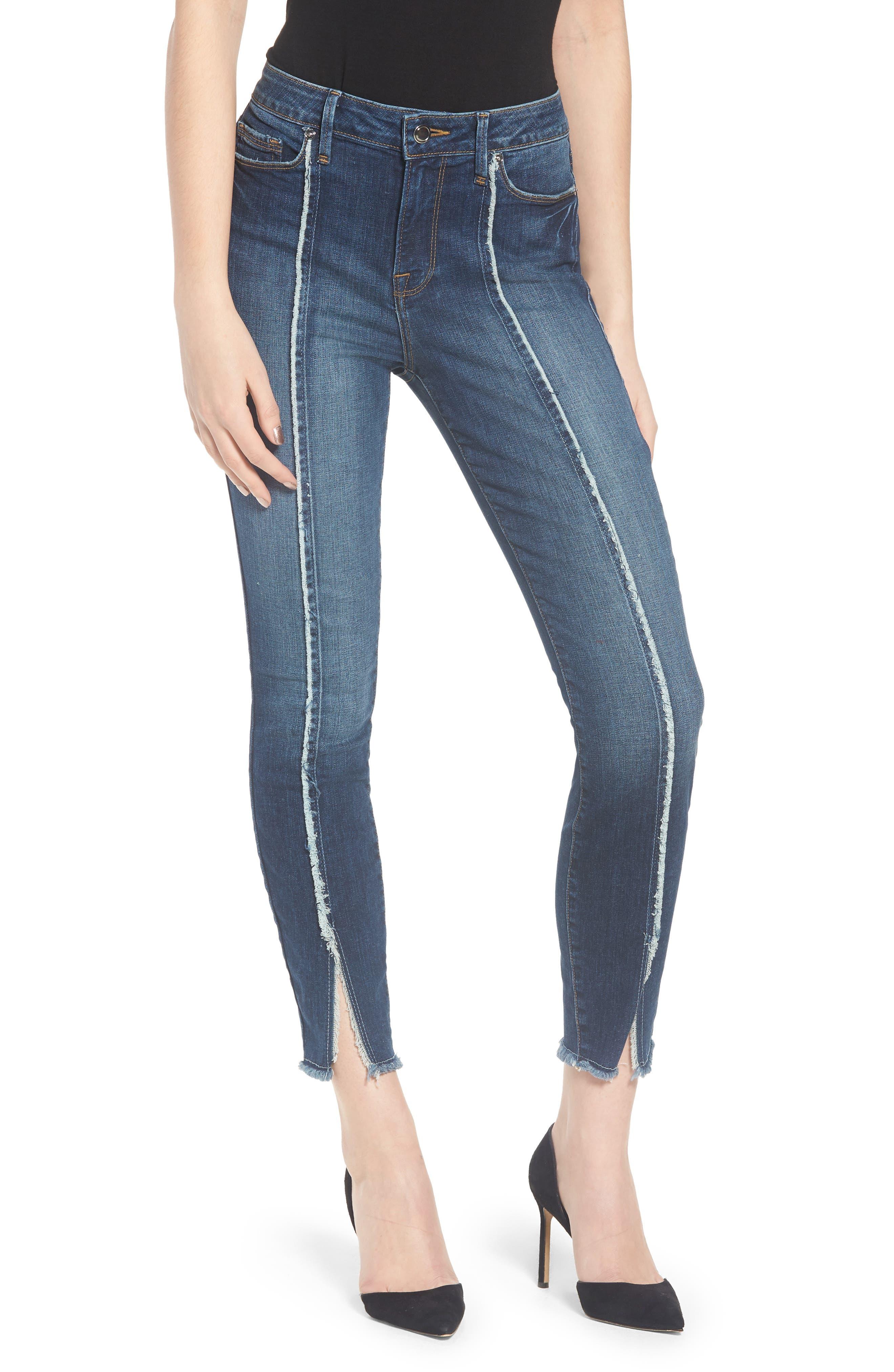 Good American Good Jeans Raw Seam Crop Skinny Jeans (Blue 135) (Regular & Plus Size)