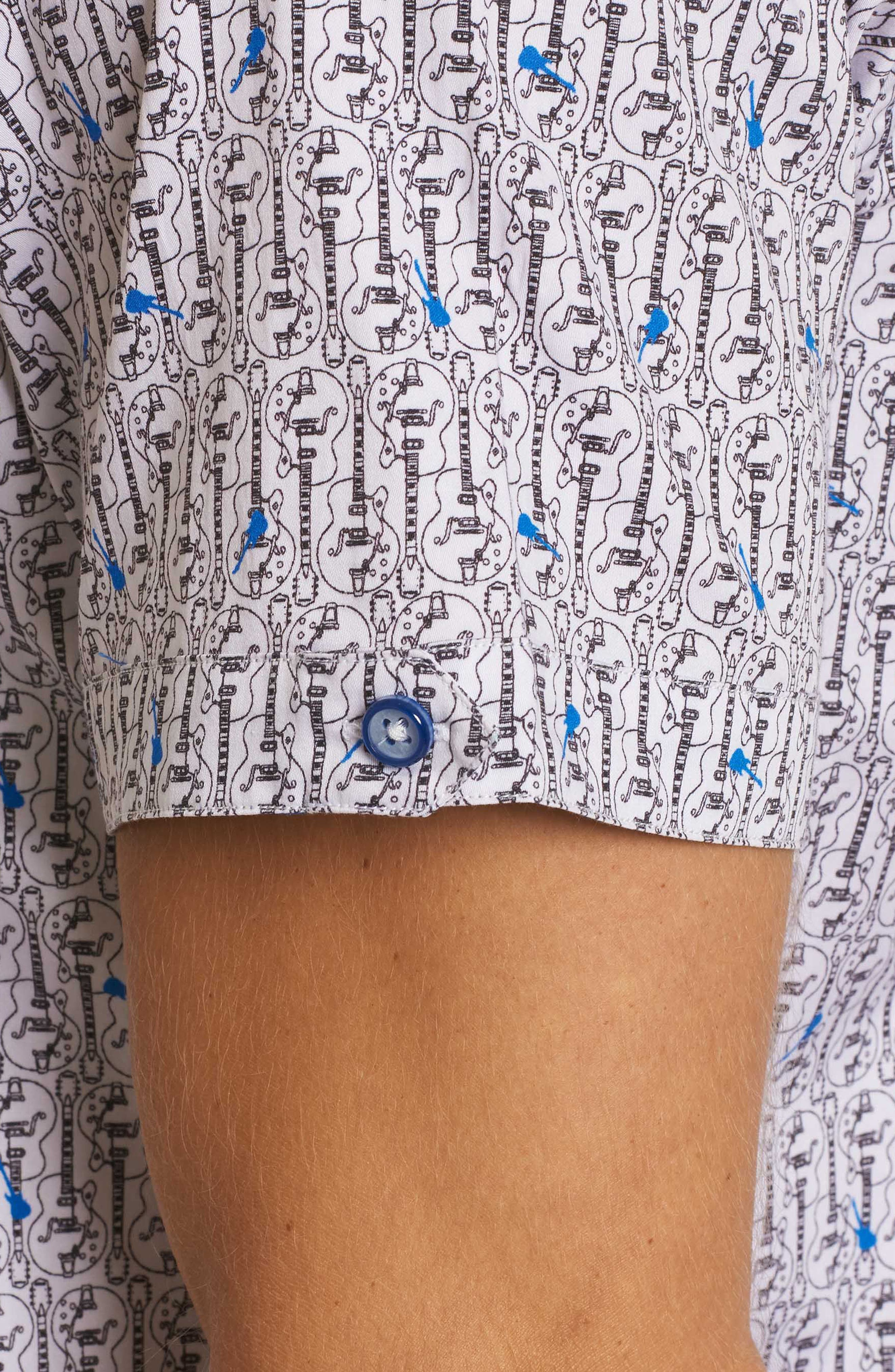 Cuban Tres Classic Fit Print Sport Shirt,                             Alternate thumbnail 3, color,                             White