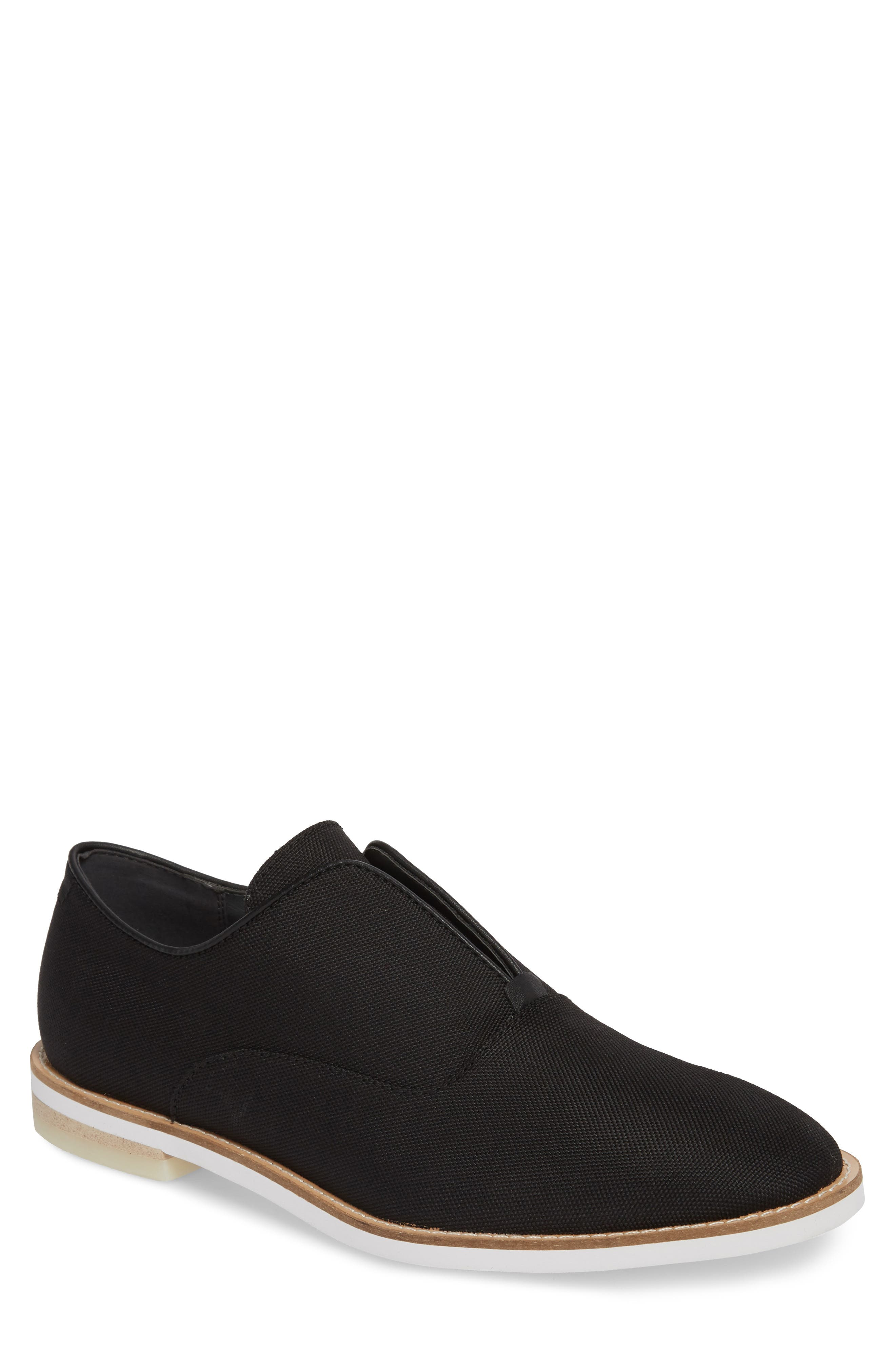 Auston Laceless Wingtip Oxford,                         Main,                         color, Black Nylon