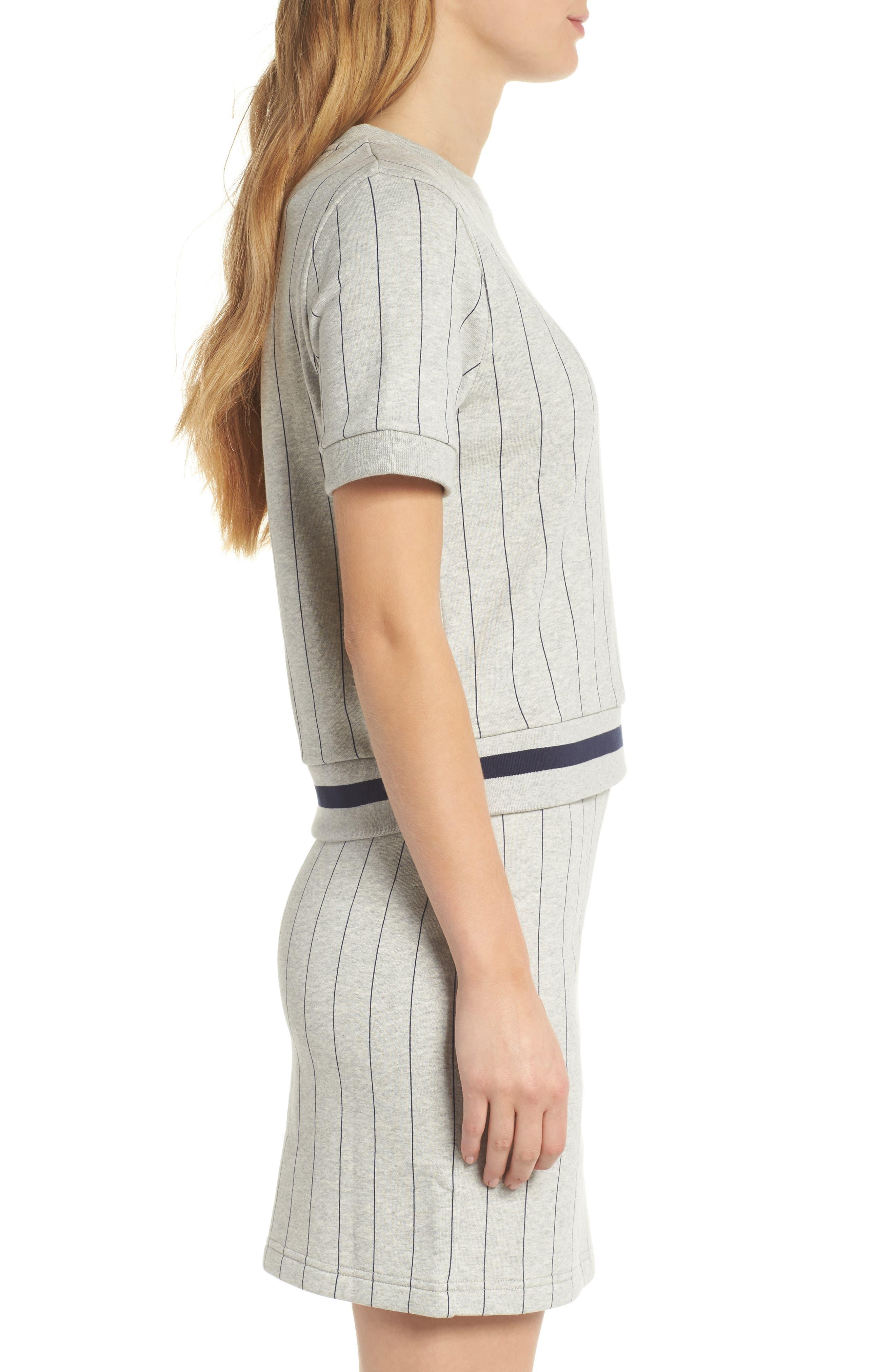 Bren Stripe Sweatshirt,                             Alternate thumbnail 4, color,                             Light Grey Marl/ Peacoat