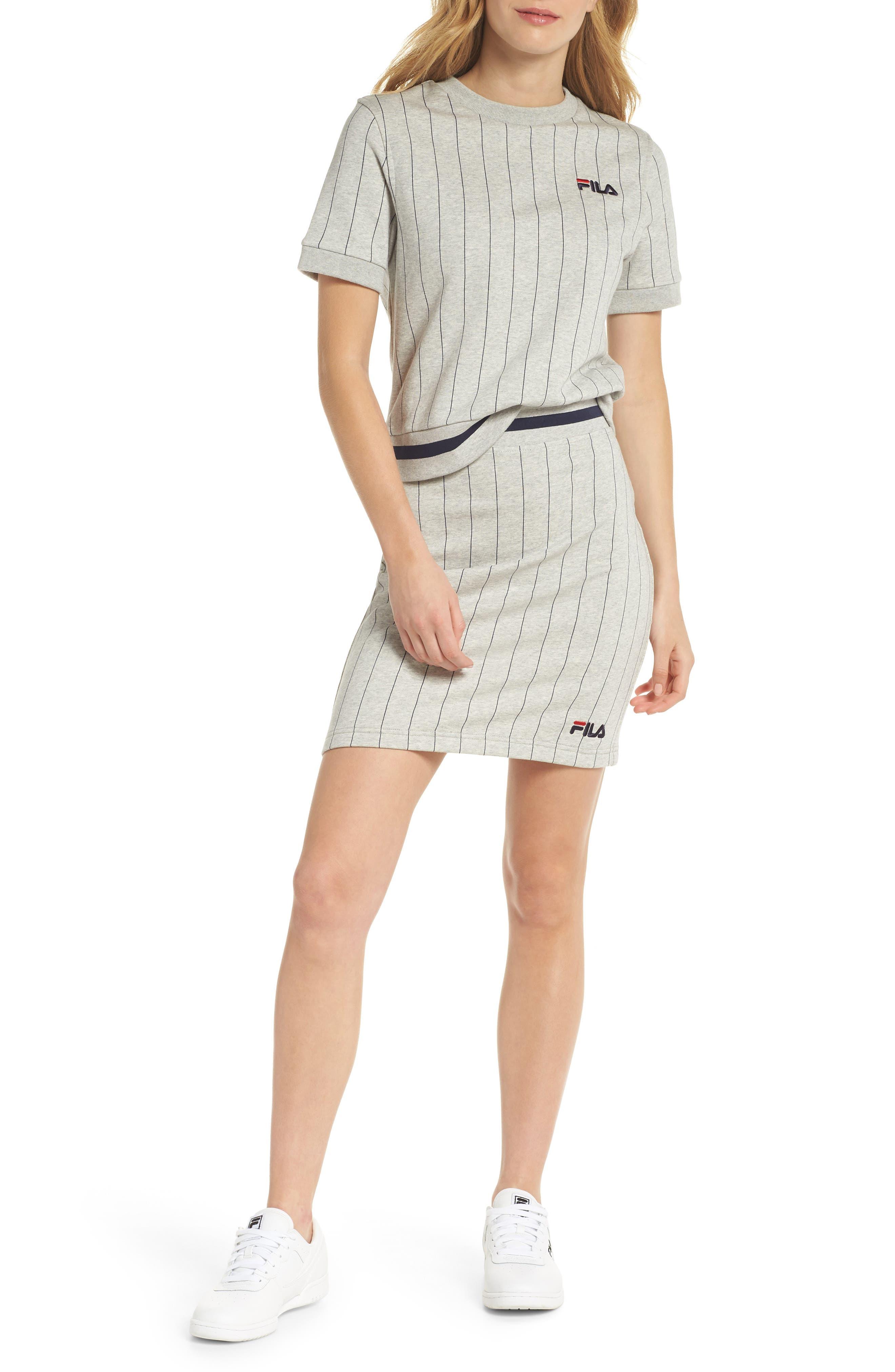 Francesca Pinstripe Skirt,                             Alternate thumbnail 2, color,                             Light Grey Marl/ Peacoat