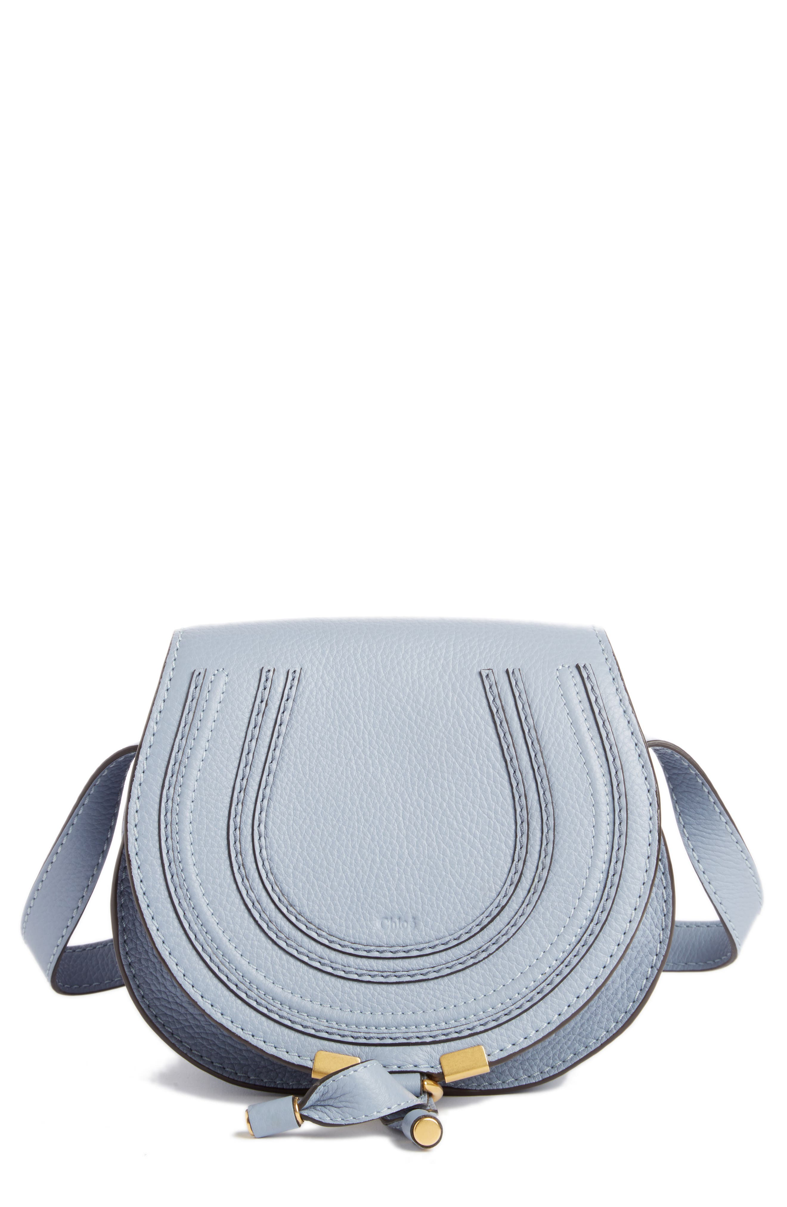 'Mini Marcie' Leather Crossbody Bag,                             Main thumbnail 1, color,                             Washed Blue