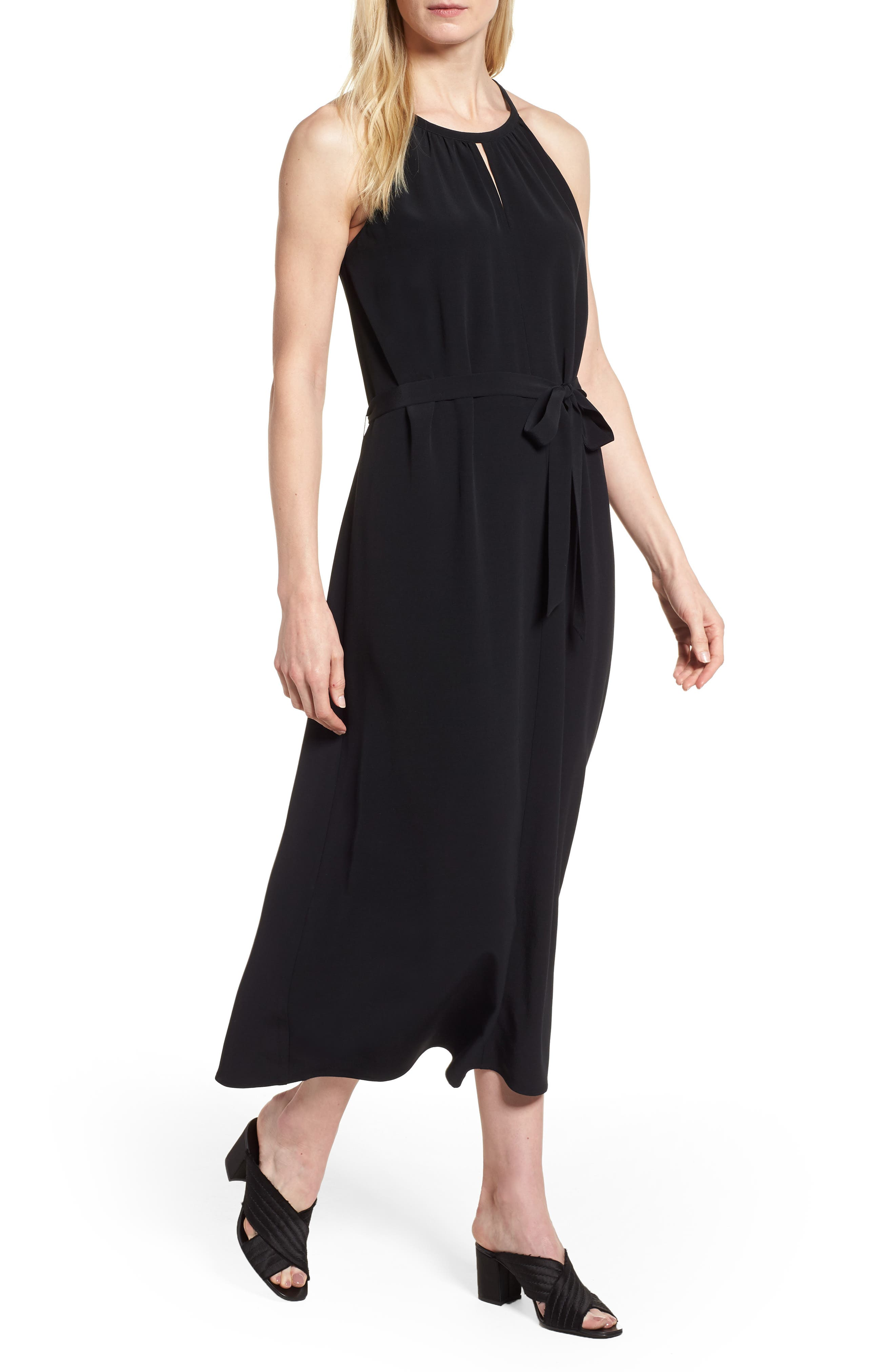 Tencel<sup>®</sup> Lyocell Blend Midi Dress,                         Main,                         color, Black
