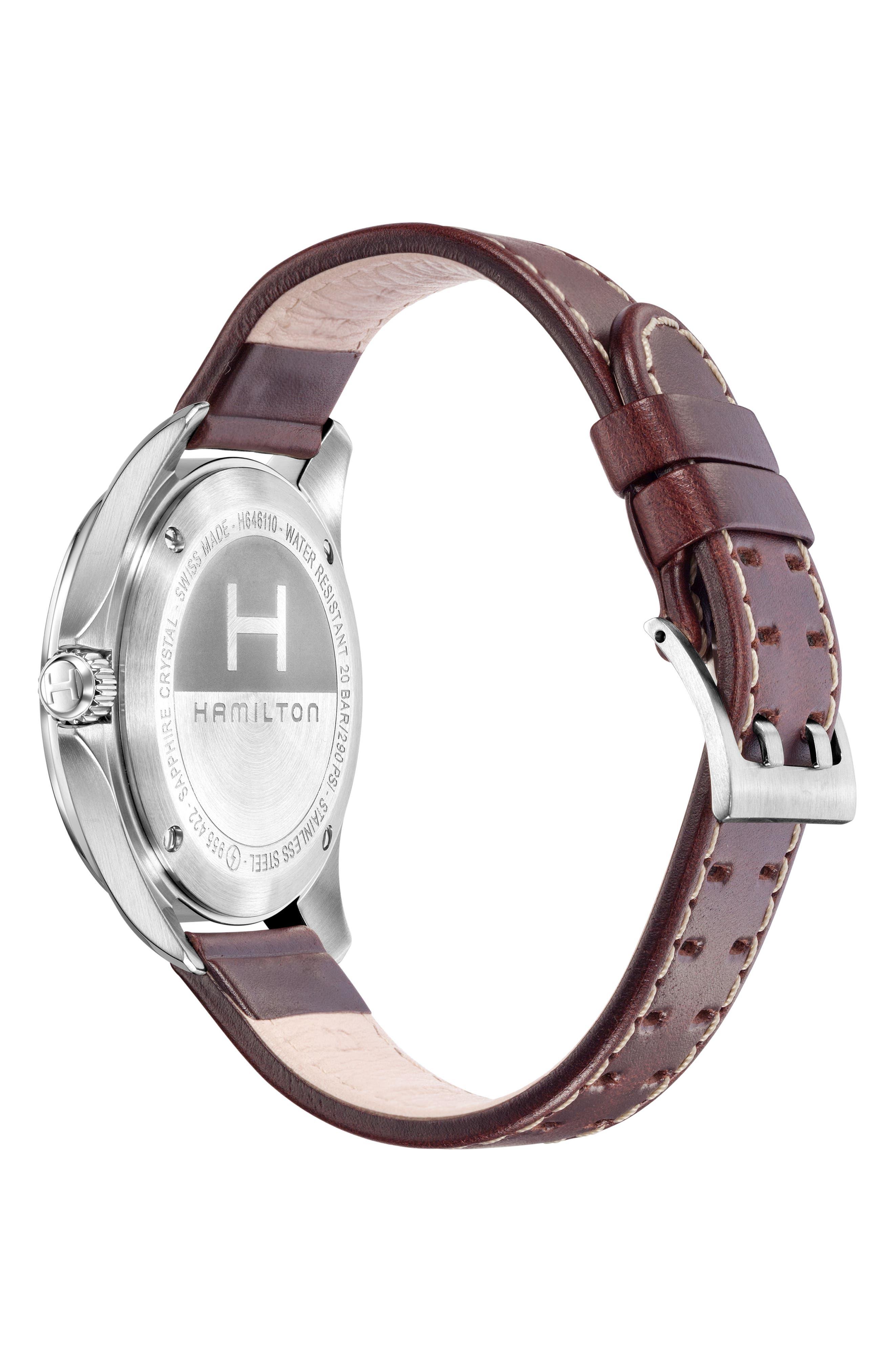 Khaki Aviation Pilot Leather Strap Watch, 42mm,                             Alternate thumbnail 2, color,                             Brown/ Black/ Silver