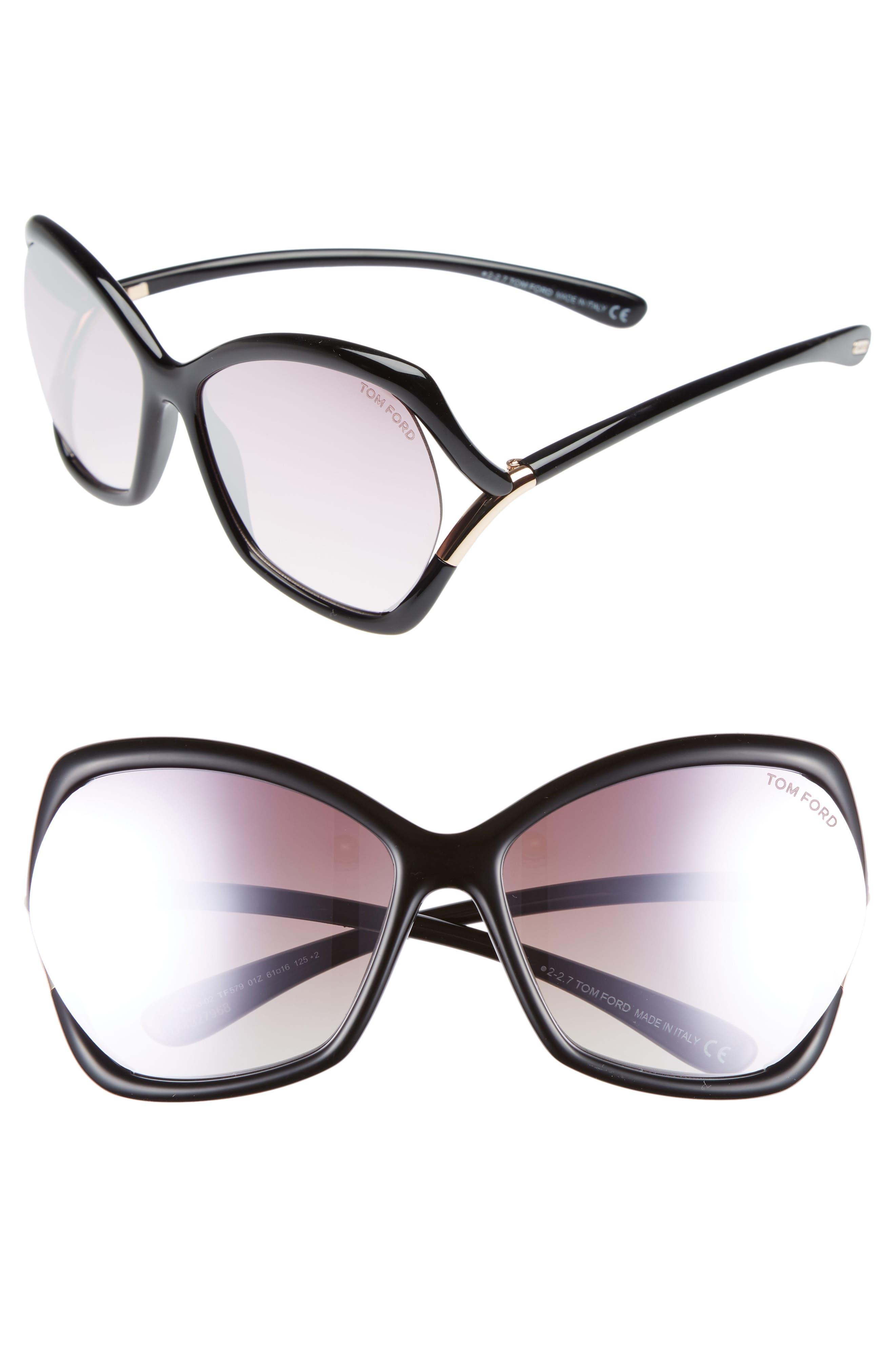 Astrid 61mm Geometric Sunglasses,                             Main thumbnail 1, color,                             Black/ Rose Gold/ Pink/ Silver