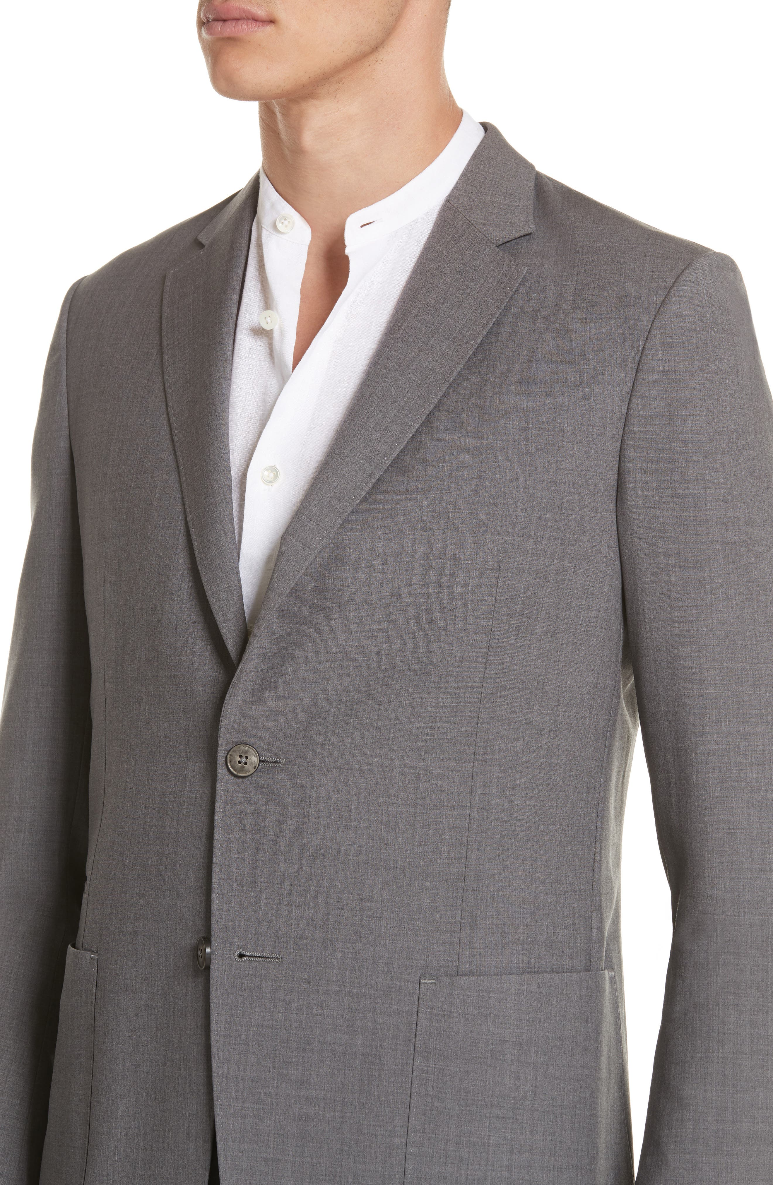 TECHMERINO<sup>™</sup> Wash & Go Trim Fit Solid Wool Suit,                             Alternate thumbnail 4, color,                             Solid Grey