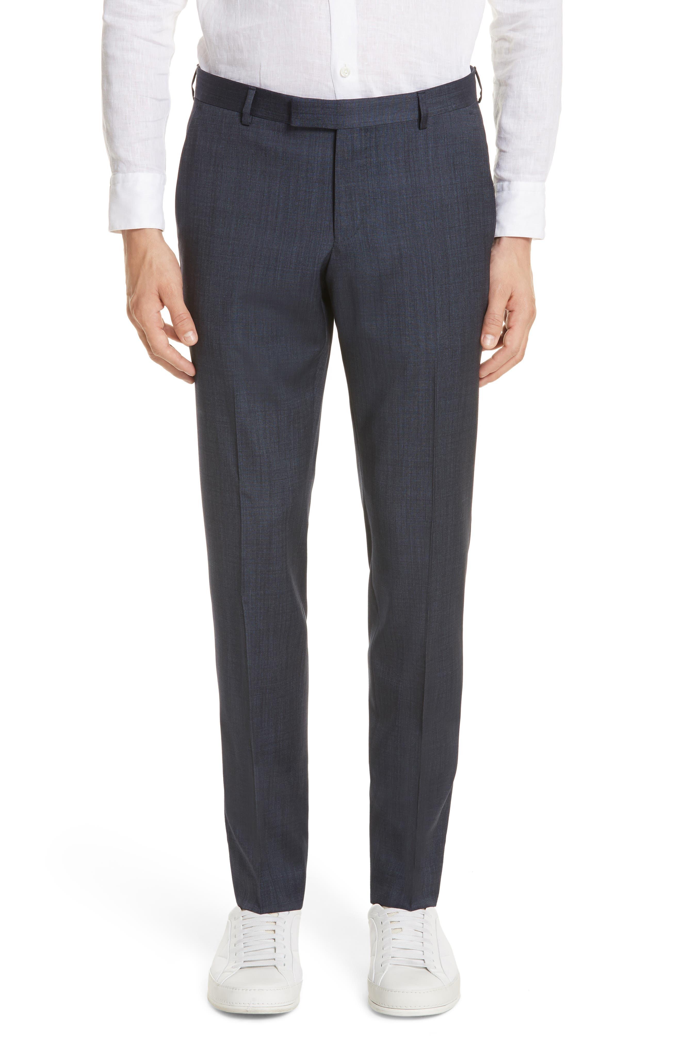 Trim Fit Solid Wool & Silk Suit,                             Alternate thumbnail 6, color,                             Navy