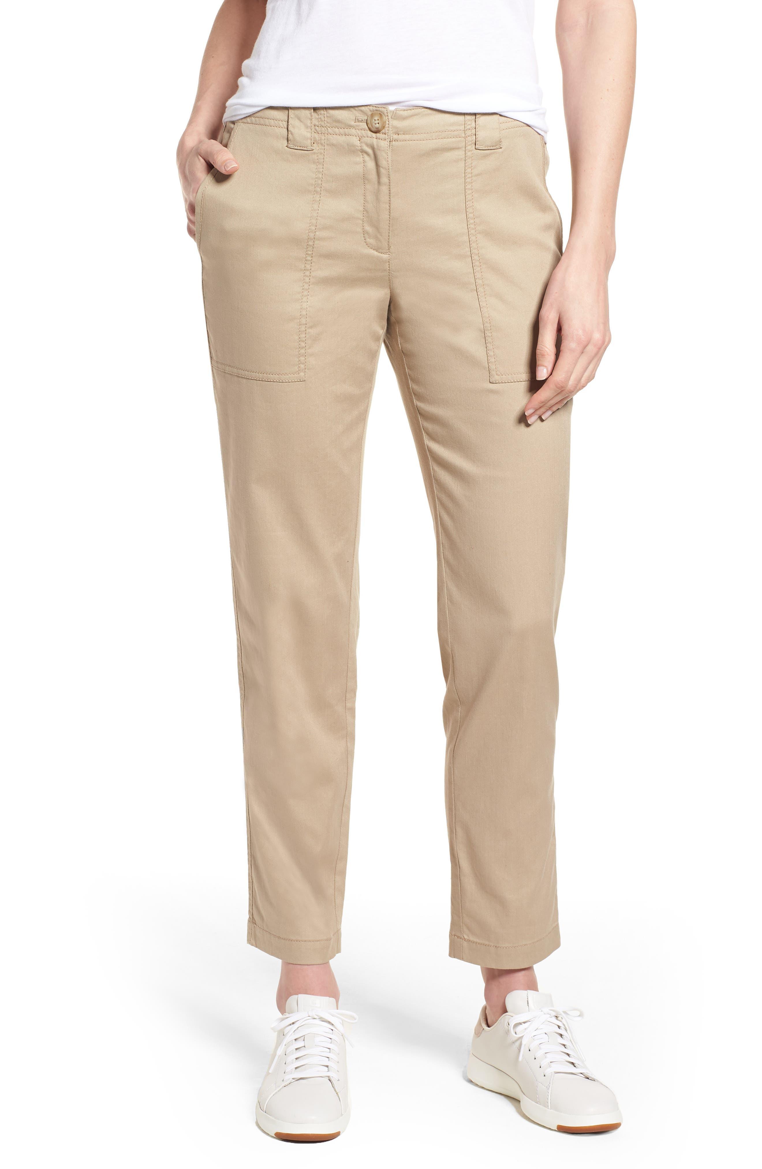 Nordstrom Signature Stretch Cotton & Linen Ankle Pants