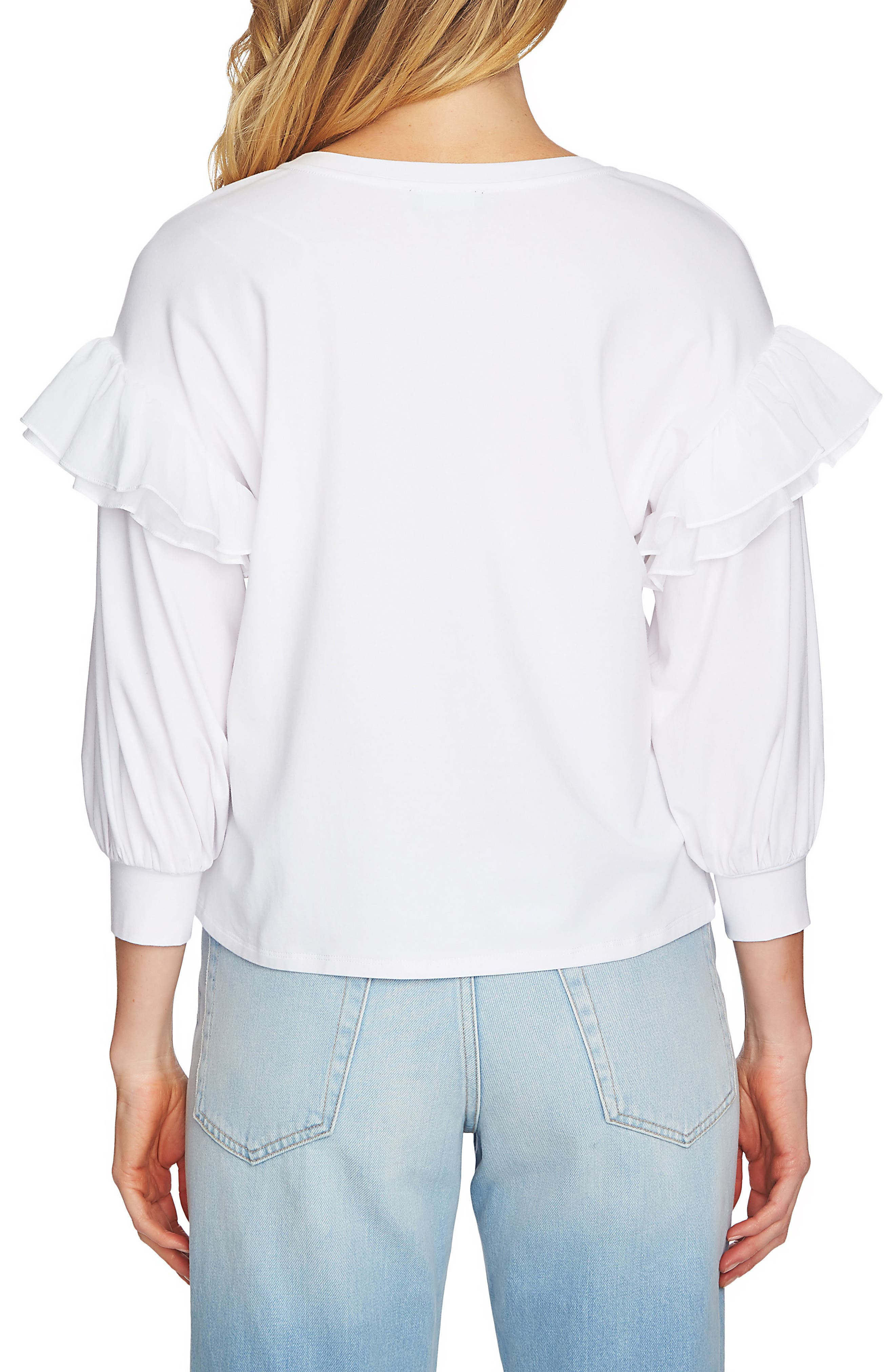 Ruffle Pullover,                             Alternate thumbnail 2, color,                             Ultra White