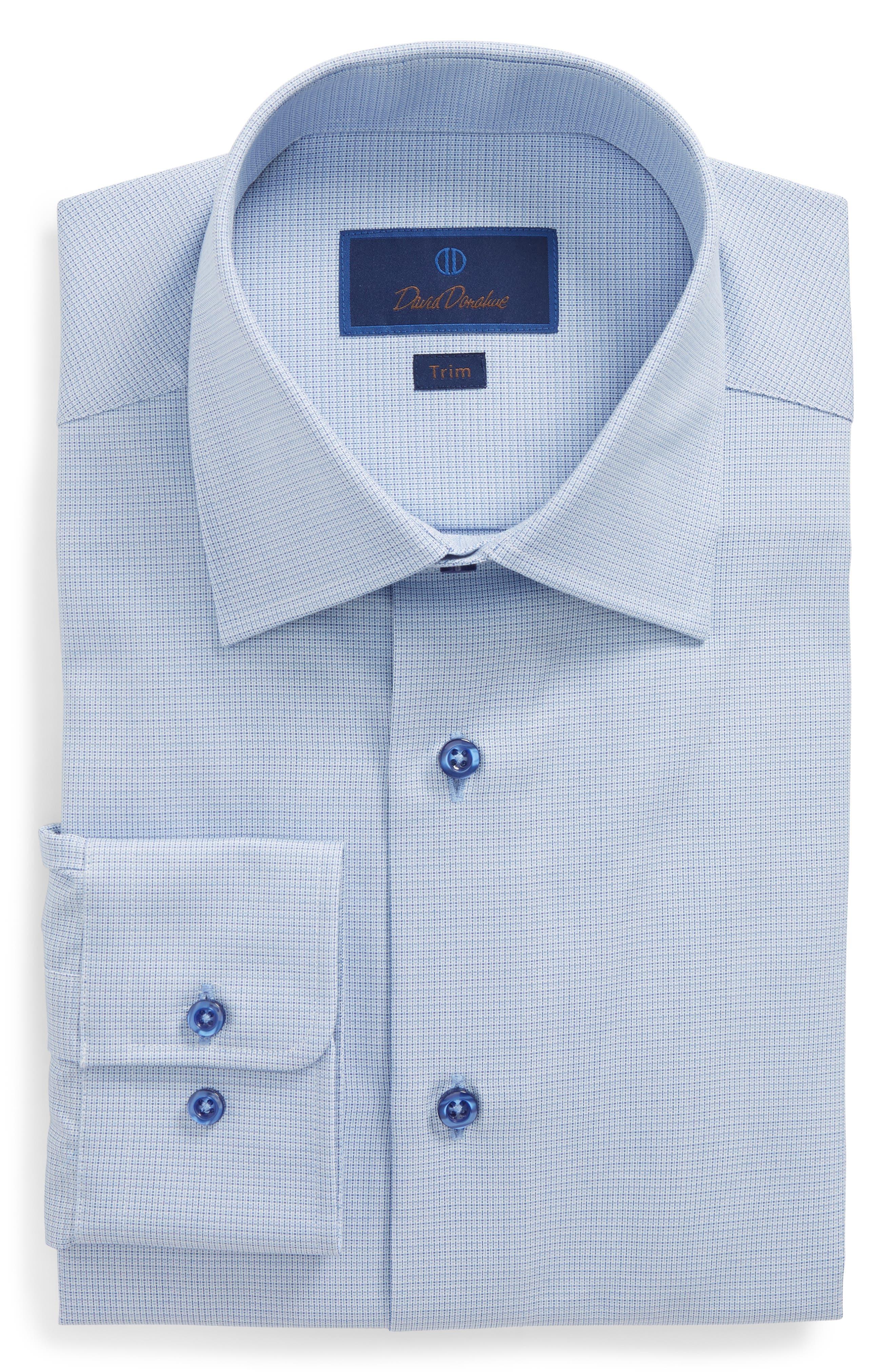 David Donahue Trim Fit Solid Dress Shirt