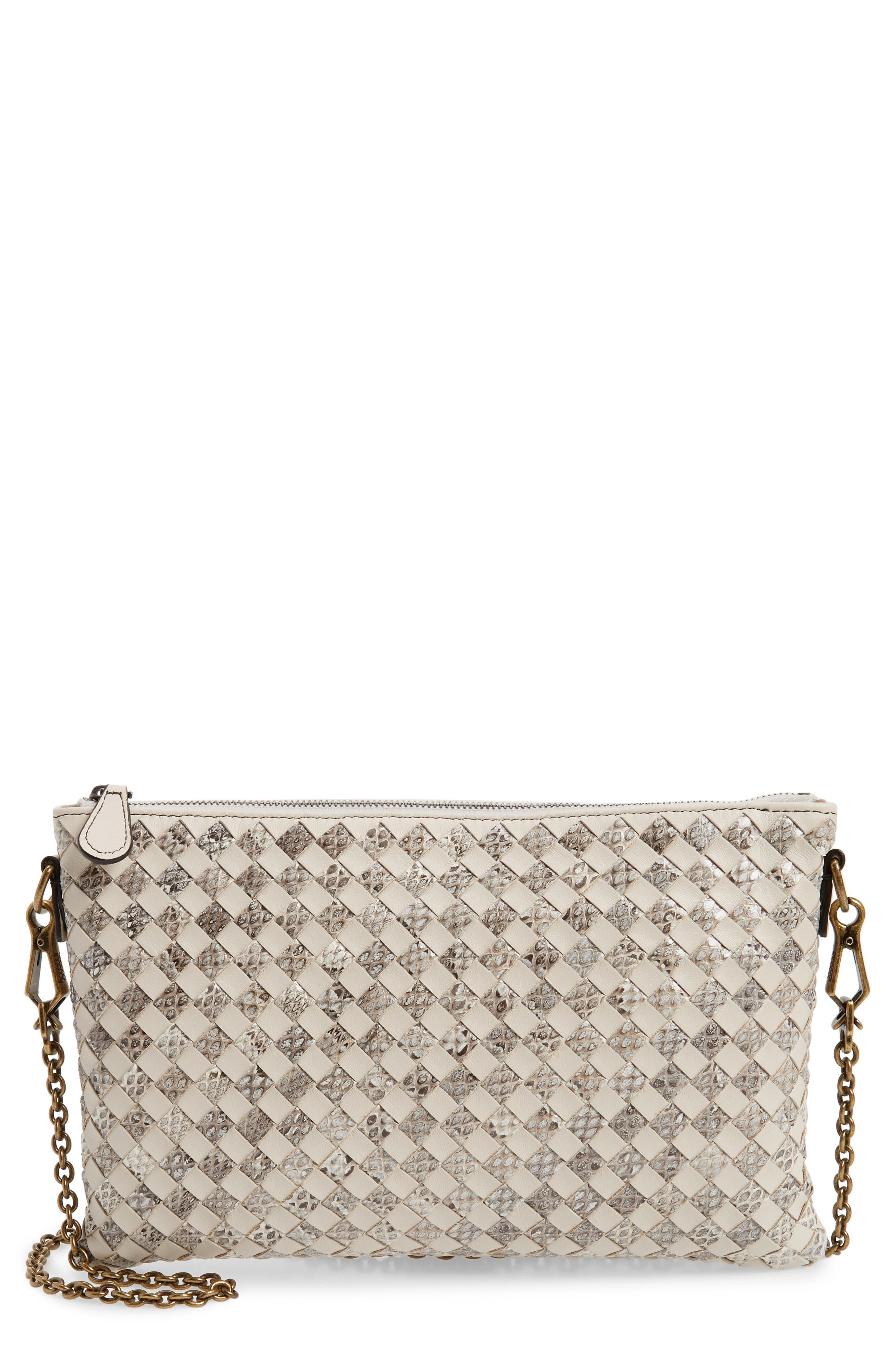 Bottega Veneta Ayers Genuine Snakeskin & Leather Crossbody Bag