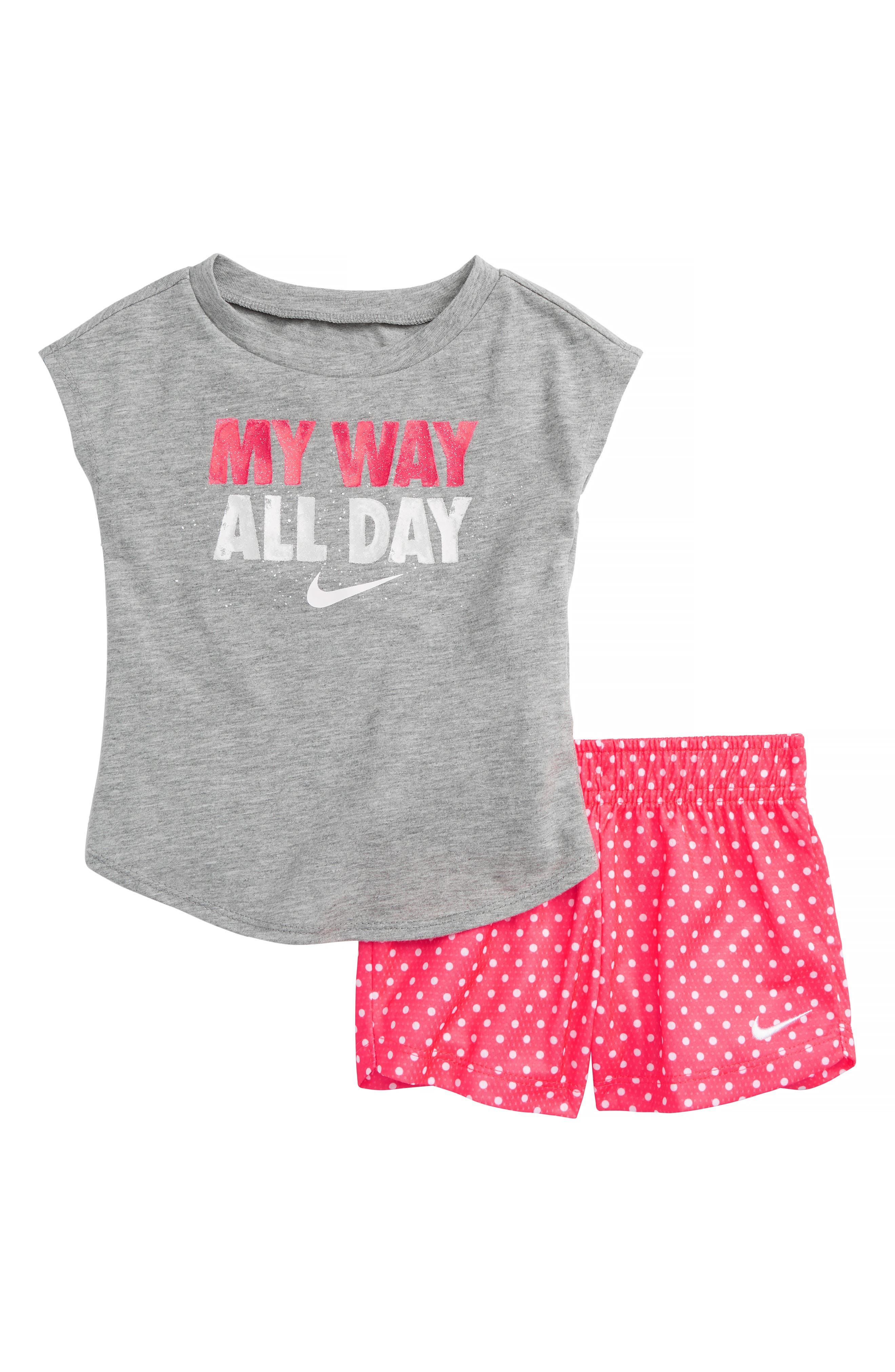 Main Image - Nike My Way All Day Graphic Tee & Shorts Set (Baby Girls)