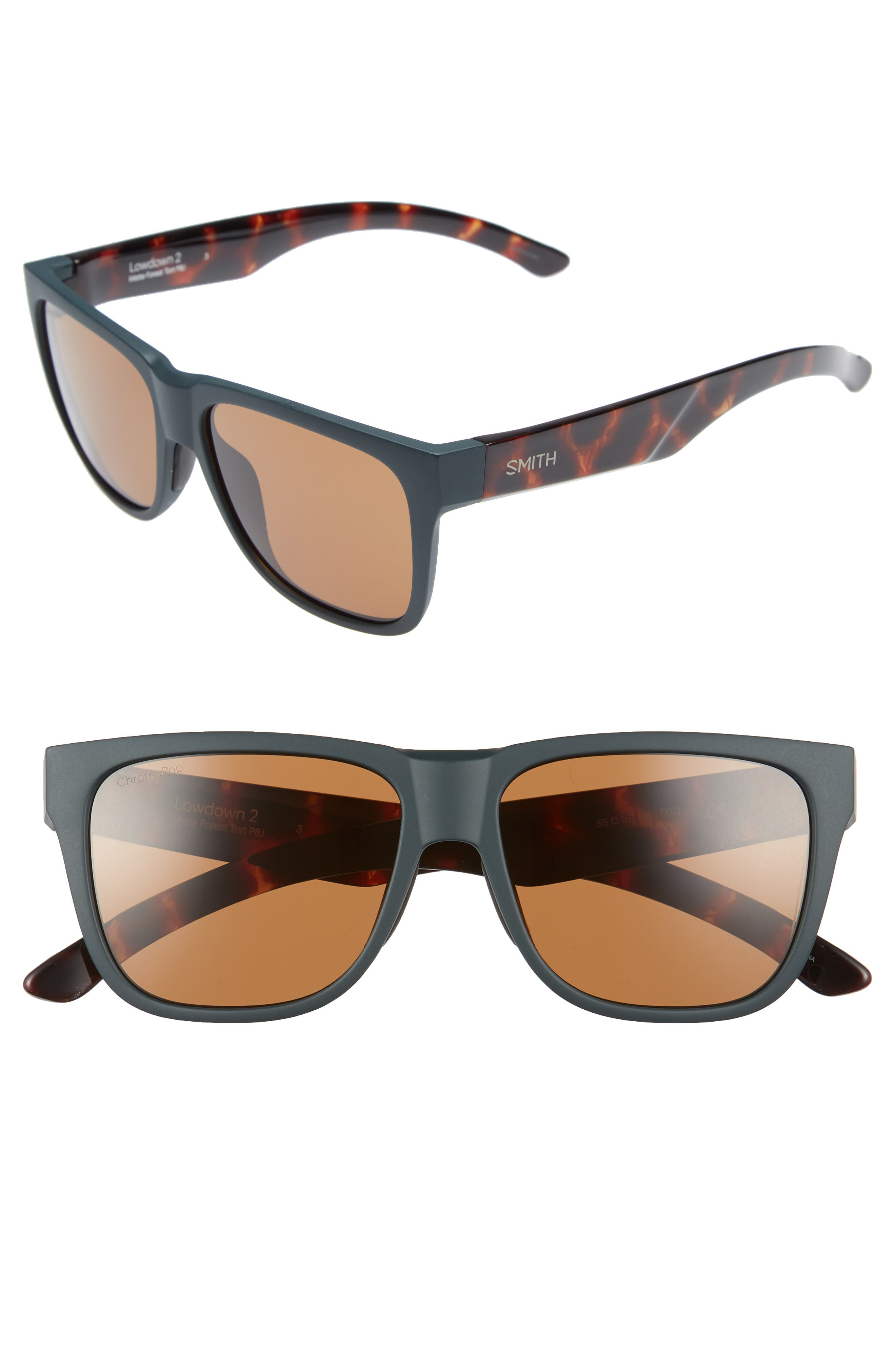 Lowdown 2 55mm ChromaPop<sup>™</sup> Square Sunglasses,                             Main thumbnail 1, color,                             Matte Forest Tortoise