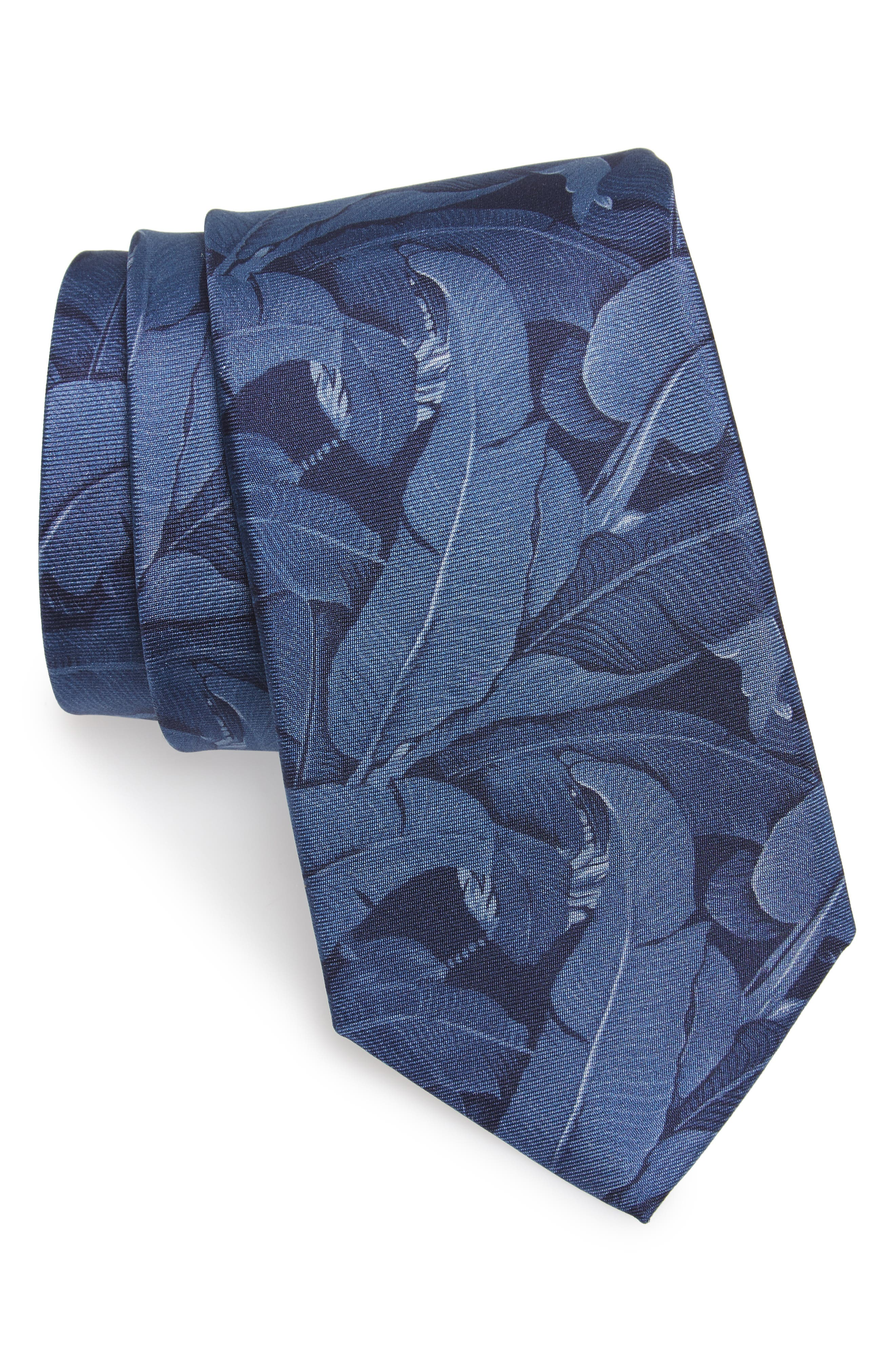 Banana Leaf Silk Tie,                         Main,                         color, Maritime Blue