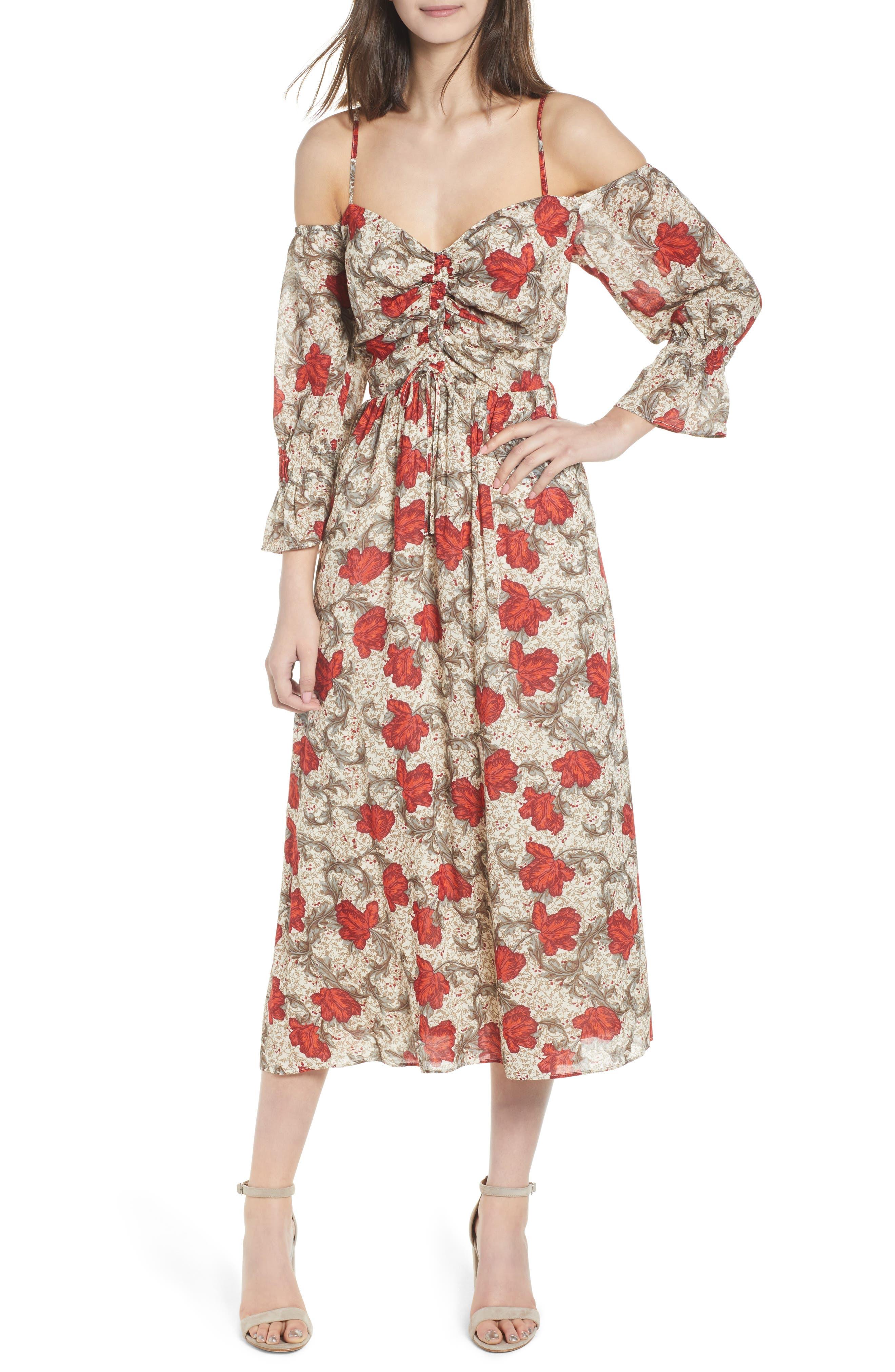 Hinge Smocked Back Cold Shoulder Dress