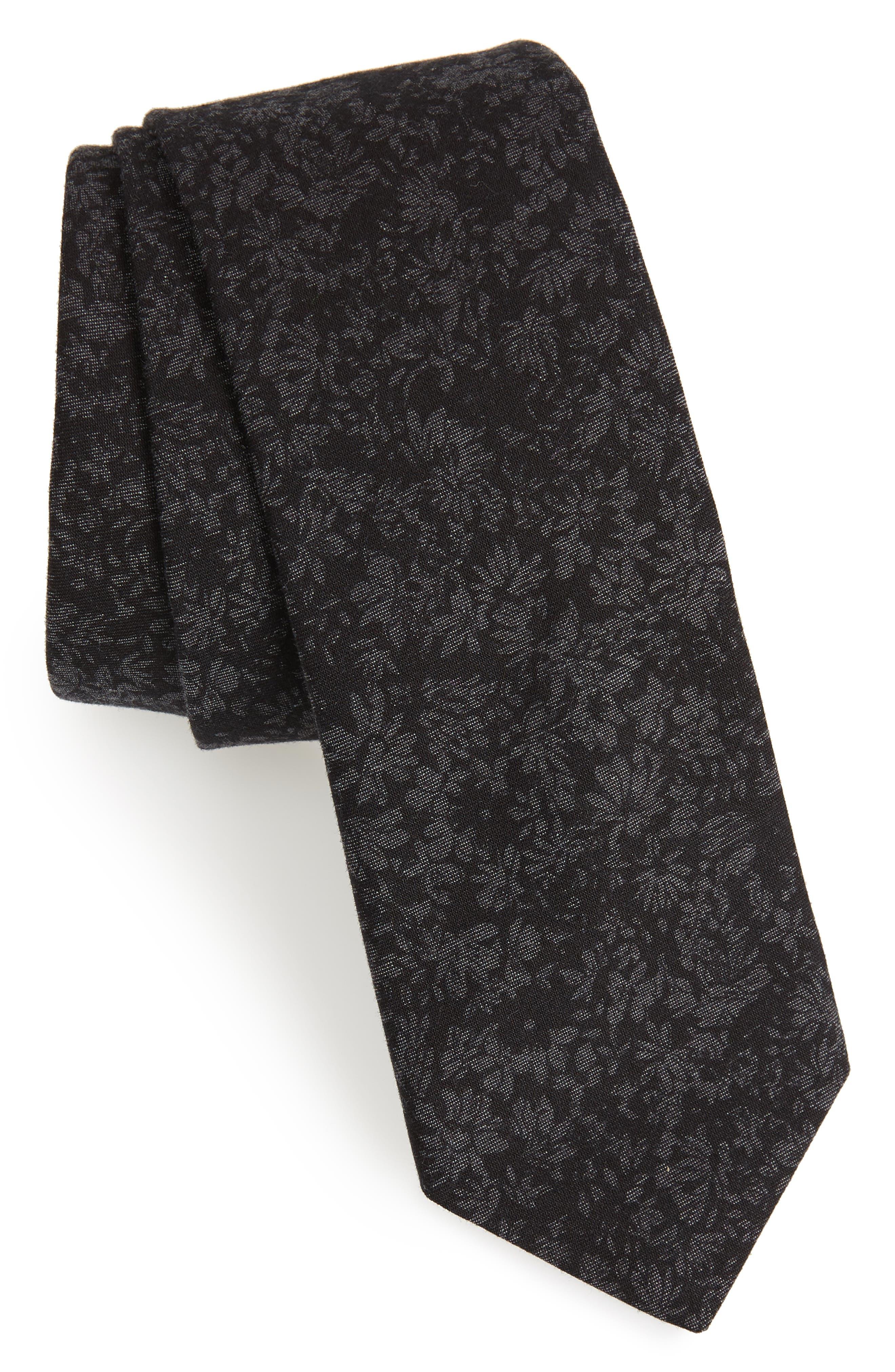 Floral Cotton Tie,                             Main thumbnail 1, color,                             Black