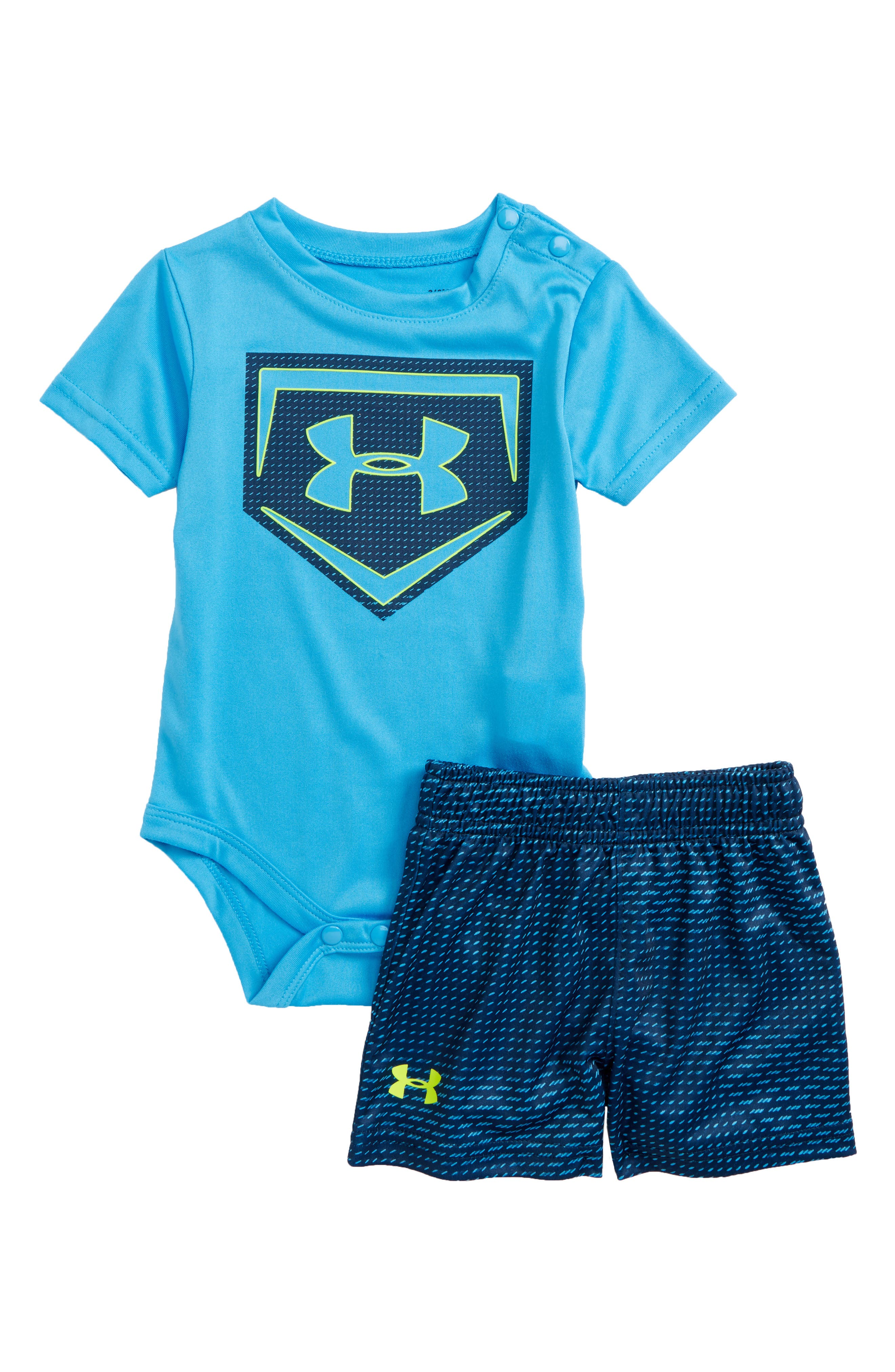 Sync Home Plate Logo Bodysuit & Shorts Set,                             Main thumbnail 1, color,                             Canoe Blue