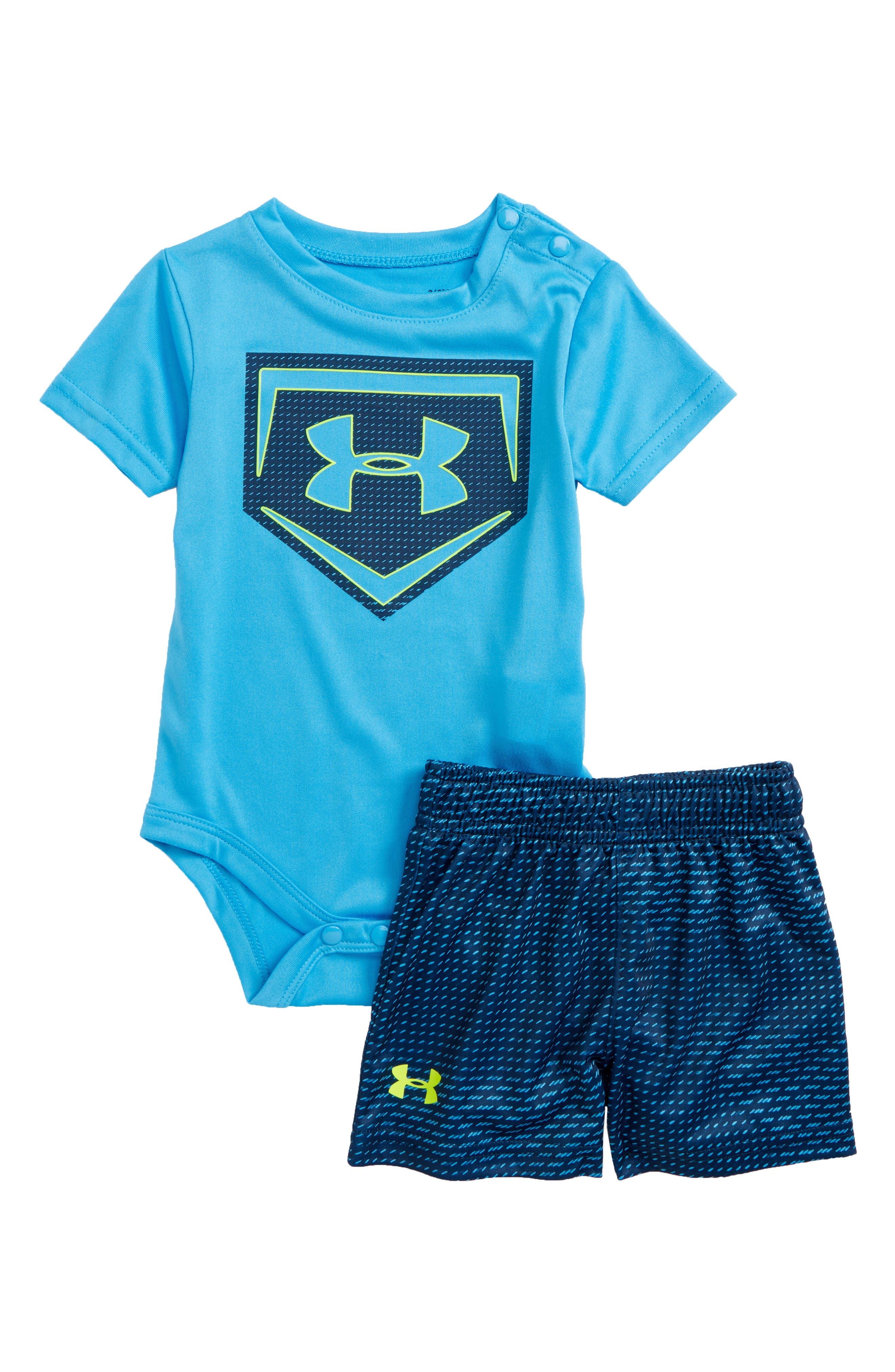 Sync Home Plate Logo Bodysuit & Shorts Set,                         Main,                         color, Canoe Blue