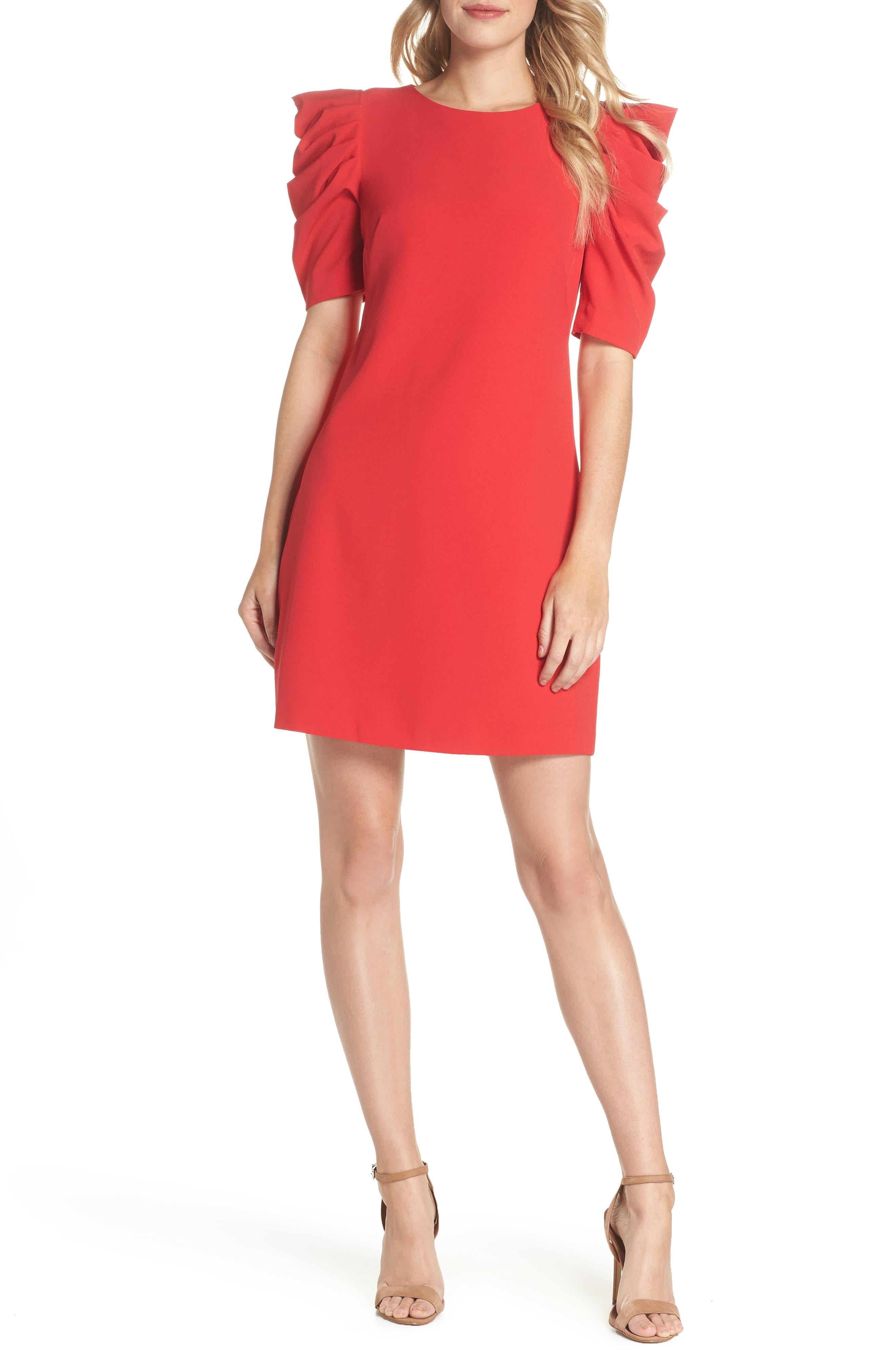 Puff Sleeve Shift Dress,                             Main thumbnail 1, color,                             Red Festive
