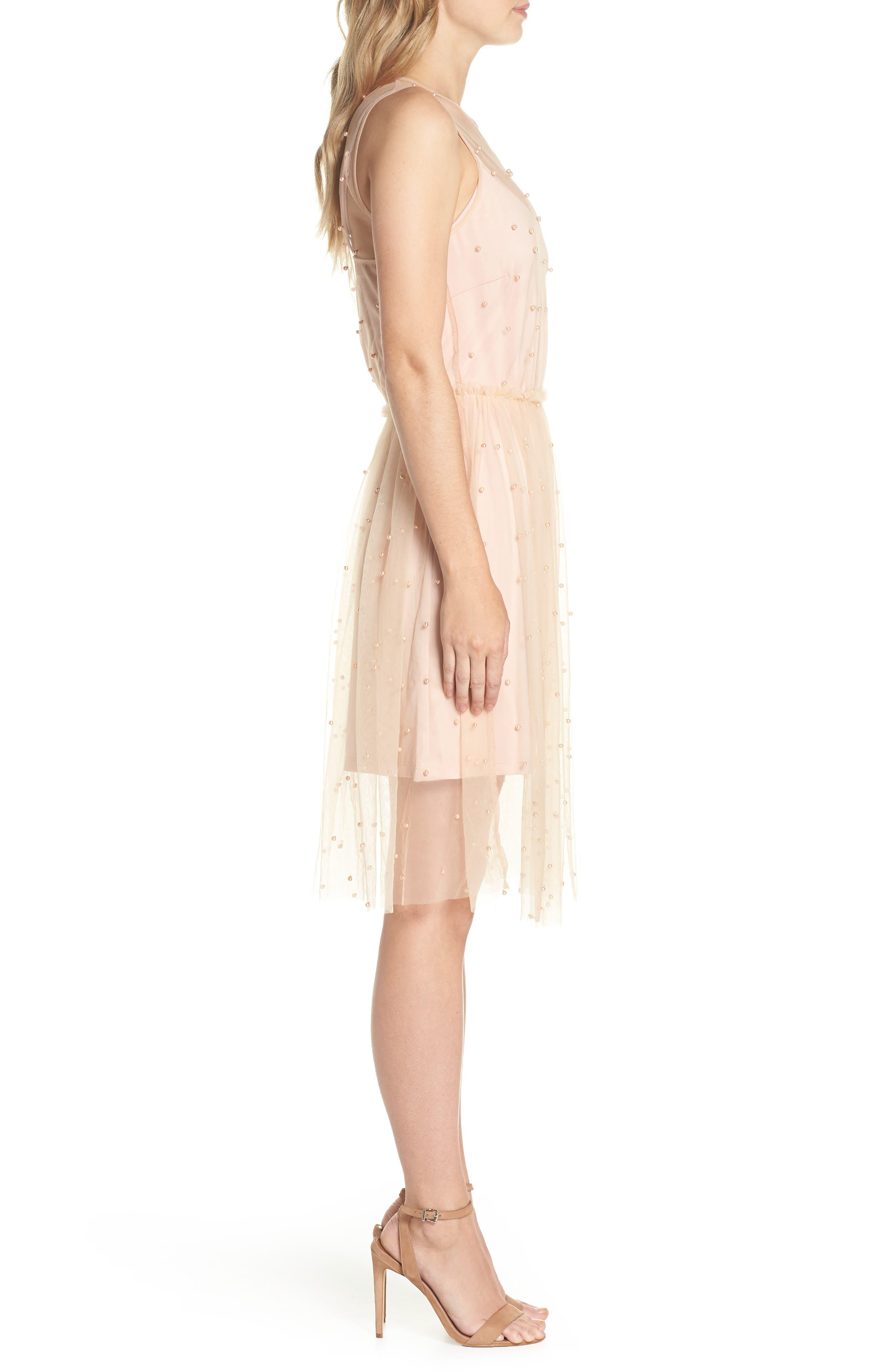 Imitation Pearl & Tulle Dress,                             Alternate thumbnail 3, color,                             Blush