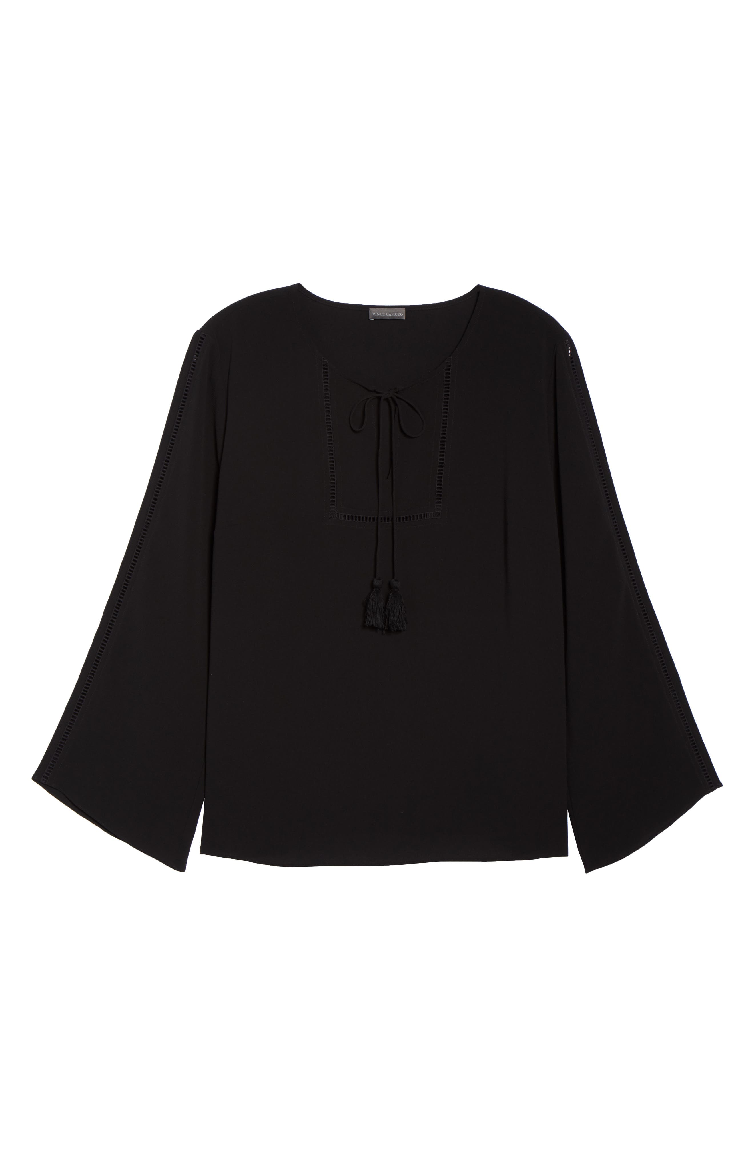 Bell Sleeve Ladder Stitch Top,                             Alternate thumbnail 7, color,                             Rich Black