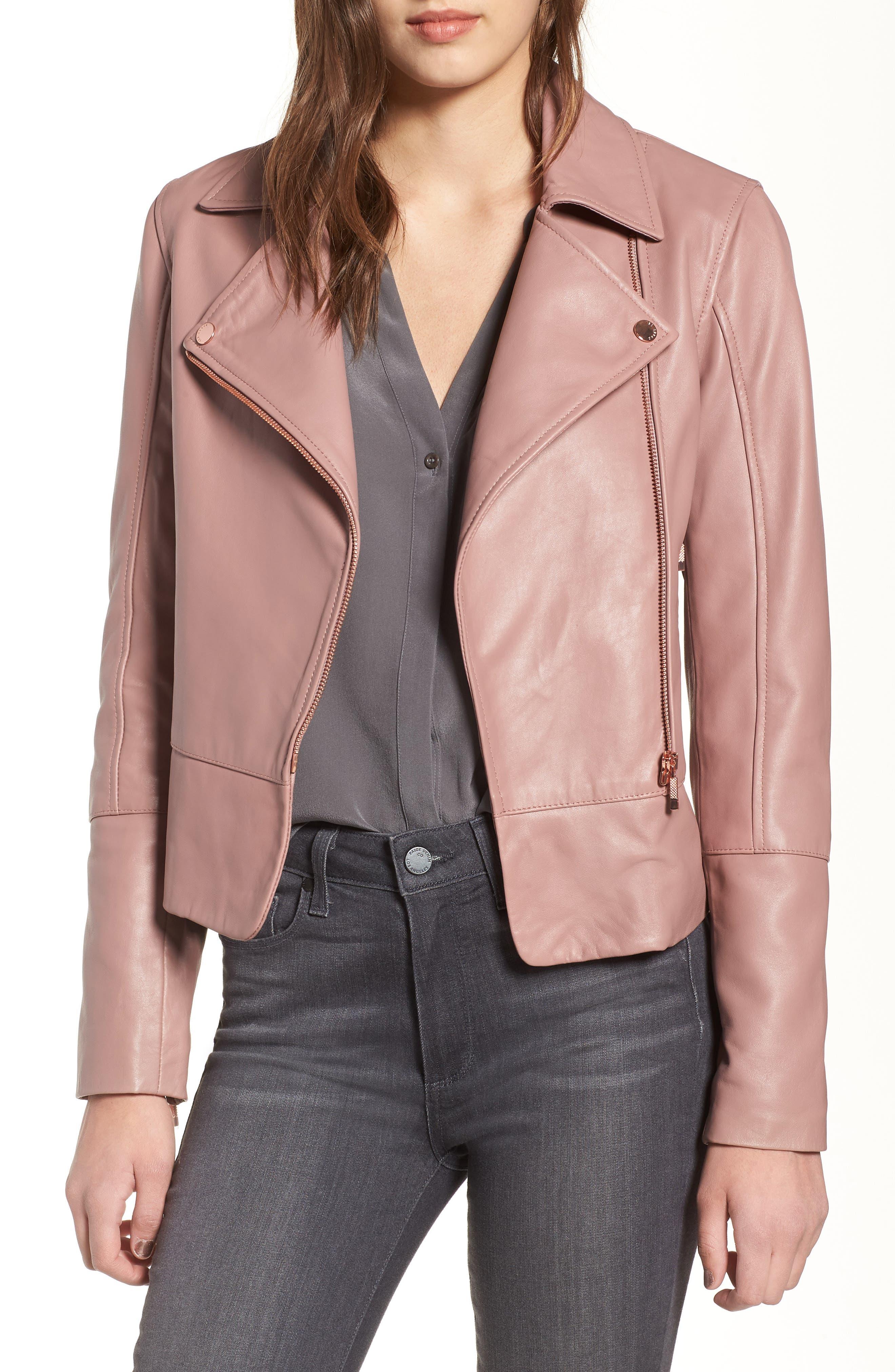 Lizia Leather Biker Jacket,                             Main thumbnail 1, color,                             Dusky Pink