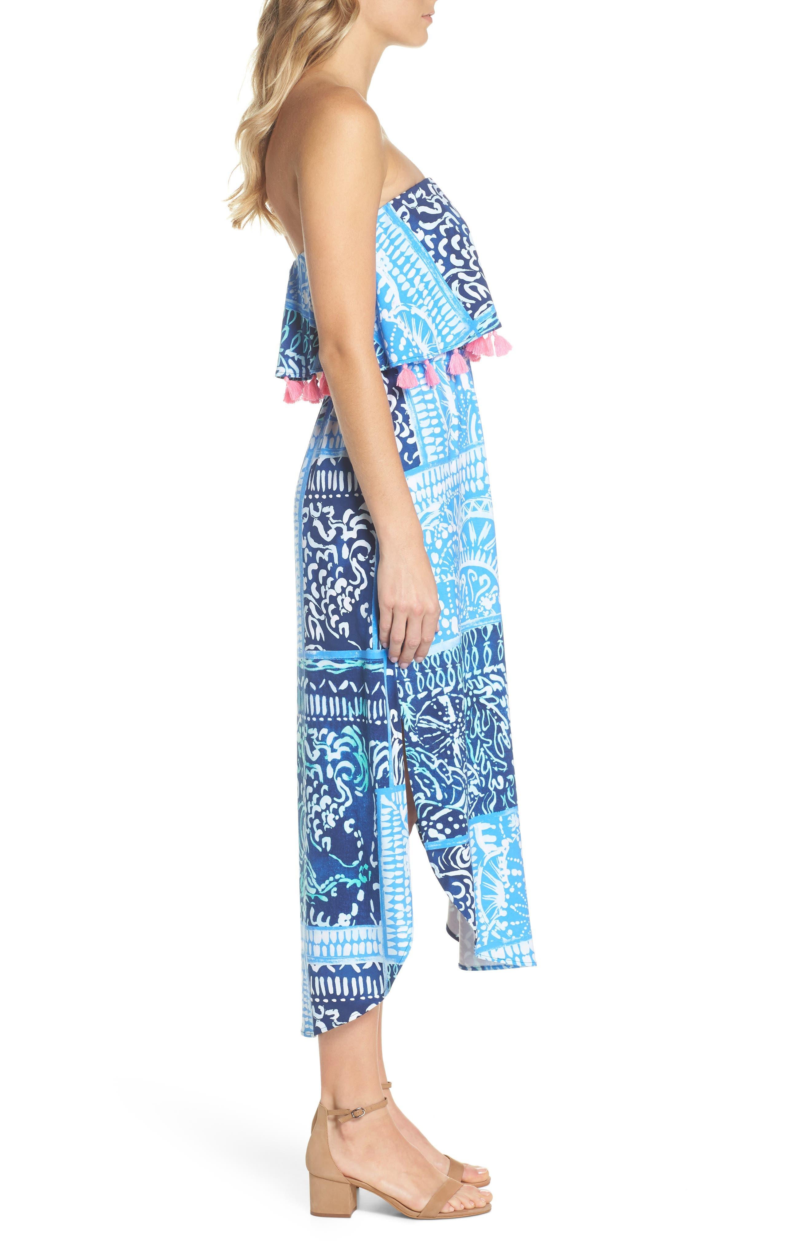 Meridian Strapless Midi Dress,                             Alternate thumbnail 3, color,                             Deep Indigo Leid Back