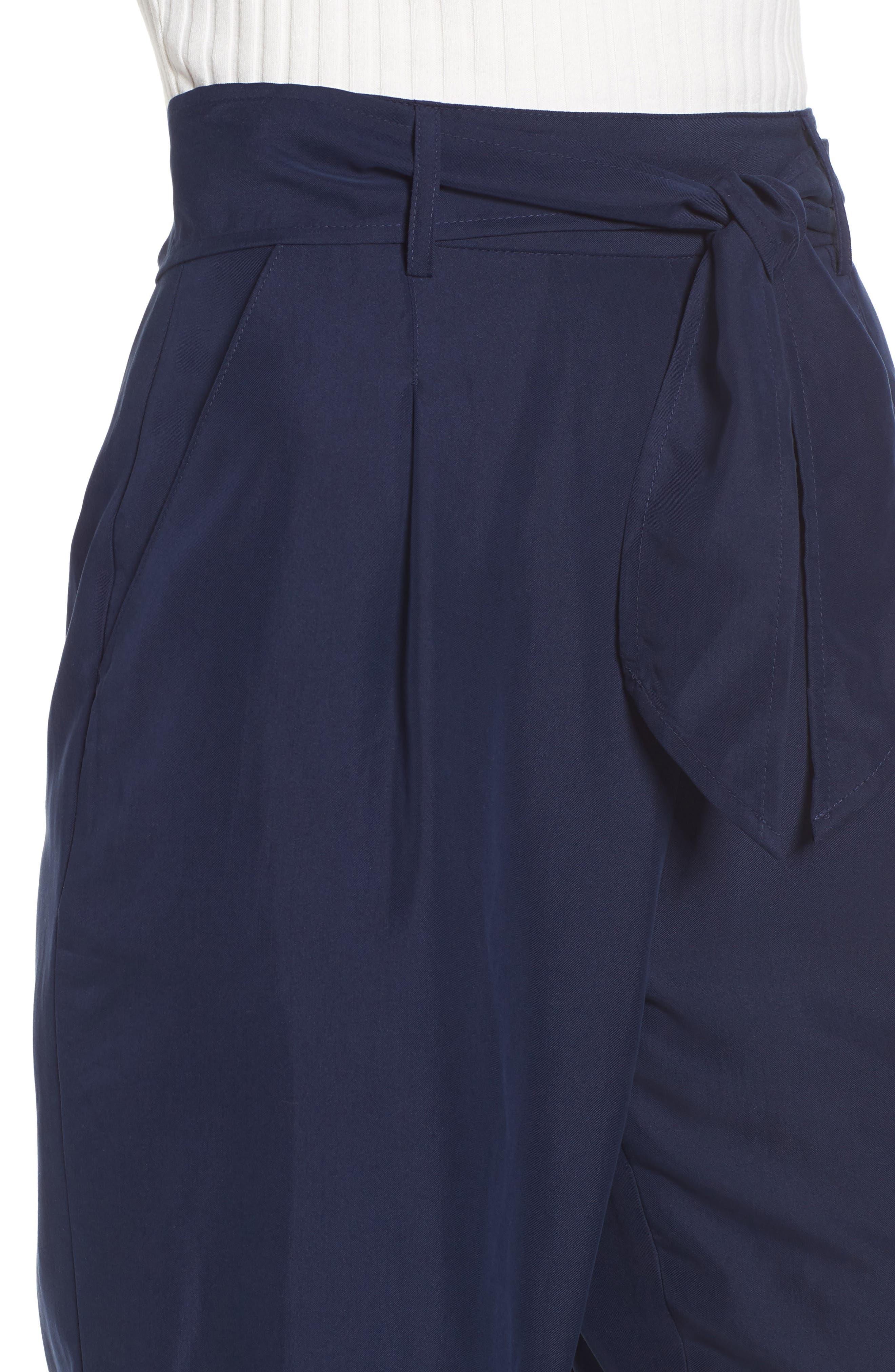 Tie Waist Pants,                             Alternate thumbnail 4, color,                             Navy Evening