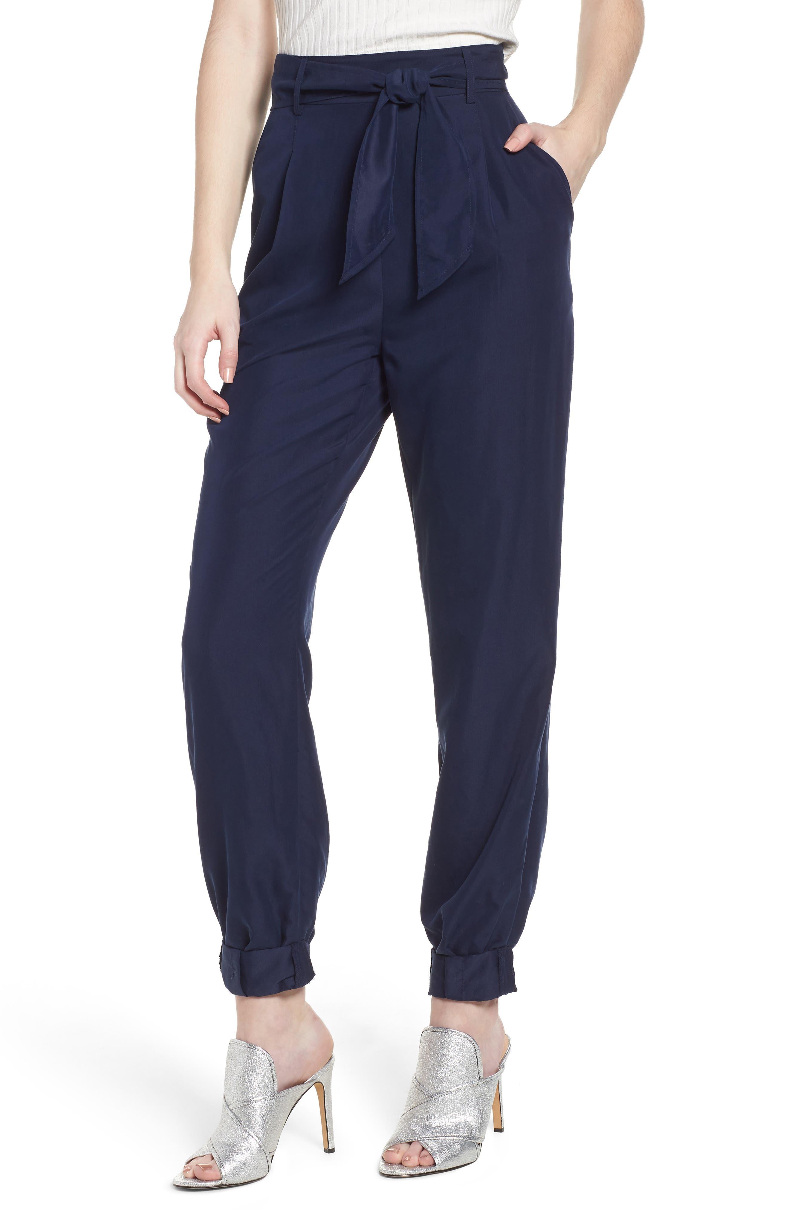Tie Waist Pants,                         Main,                         color, Navy Evening