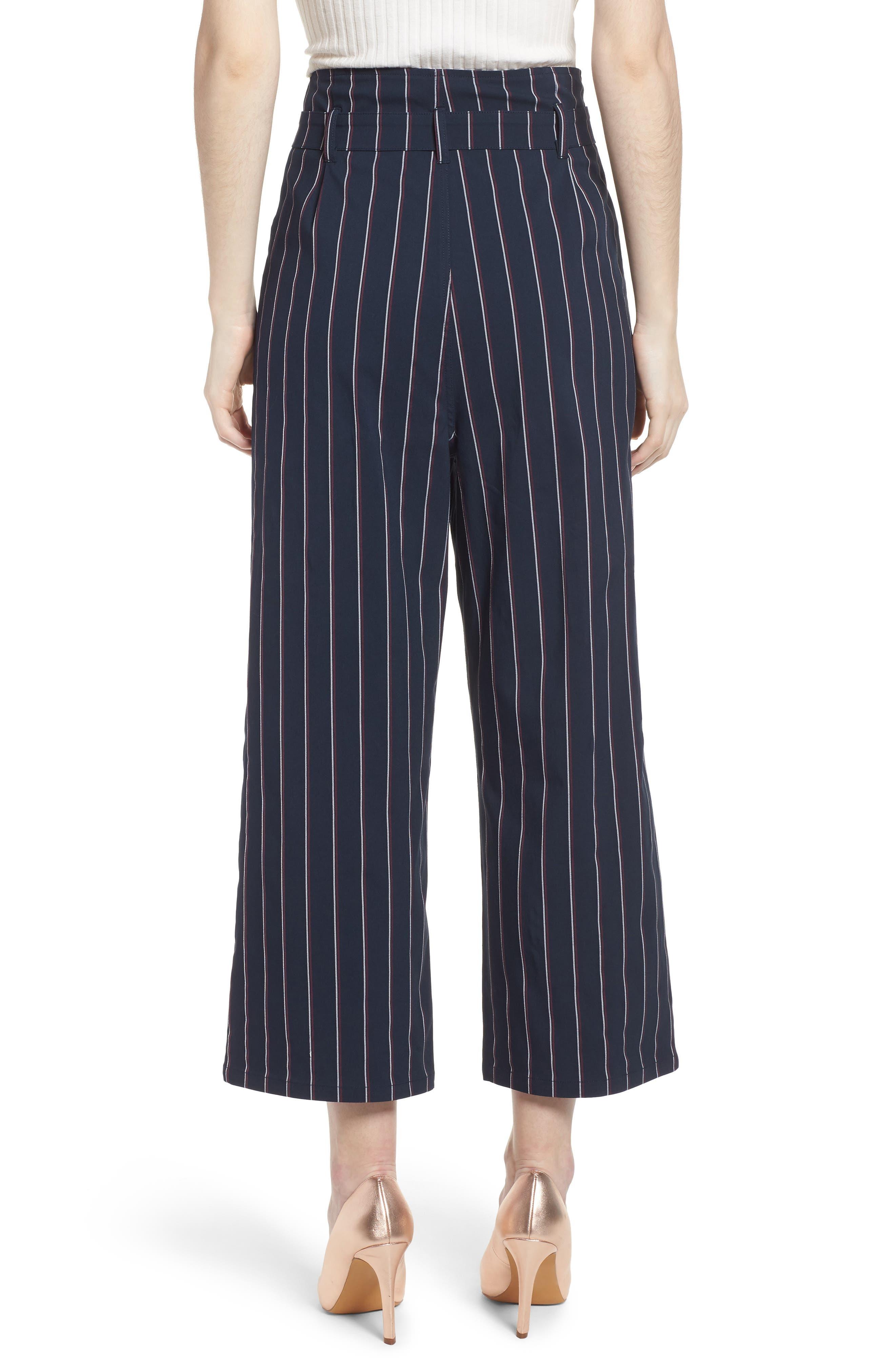 Tie Waist Crop Trousers,                             Alternate thumbnail 2, color,                             Navy Night Stripe