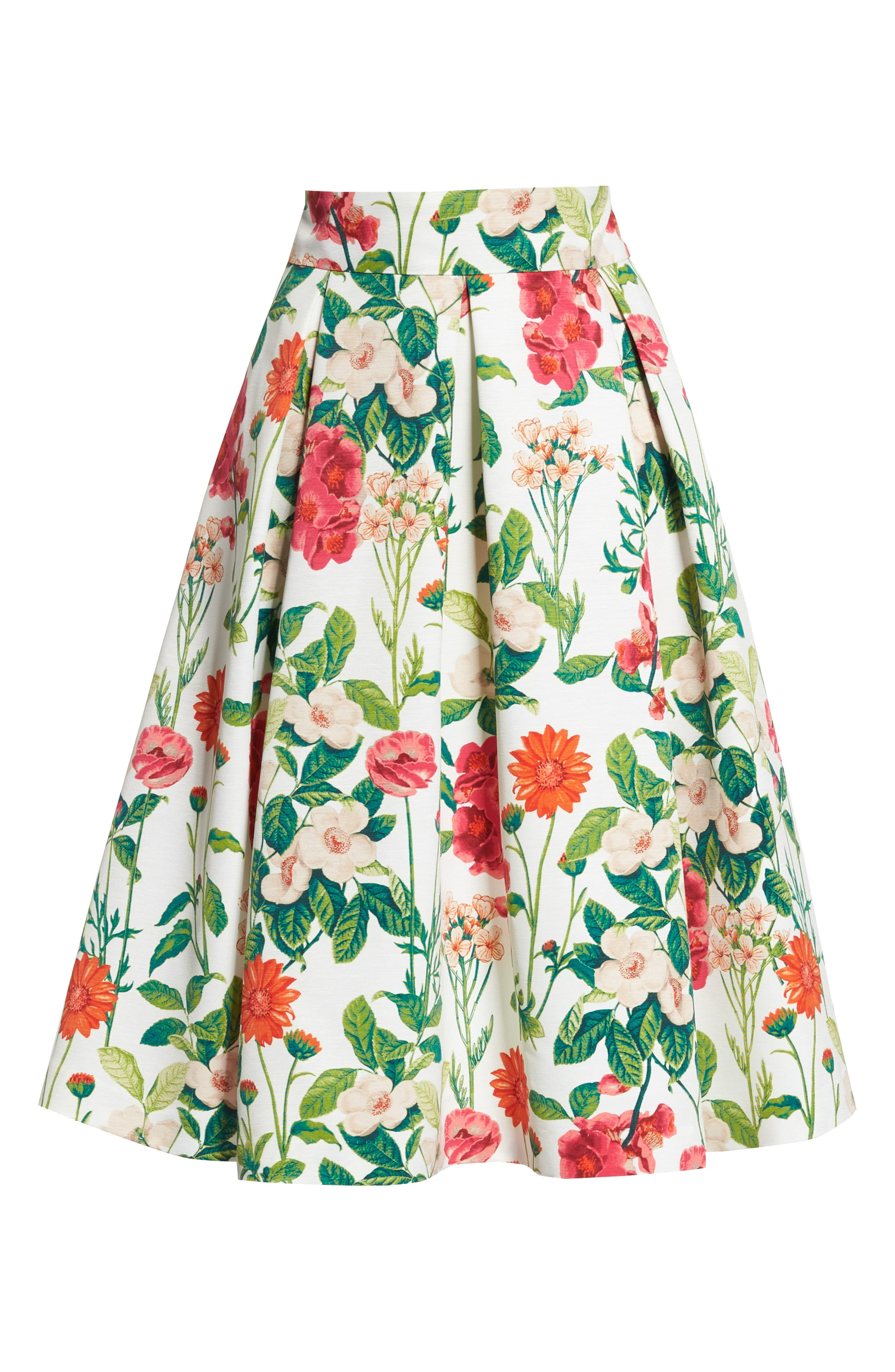 Floral A-Line Skirt,                             Alternate thumbnail 7, color,                             Ivory Multi