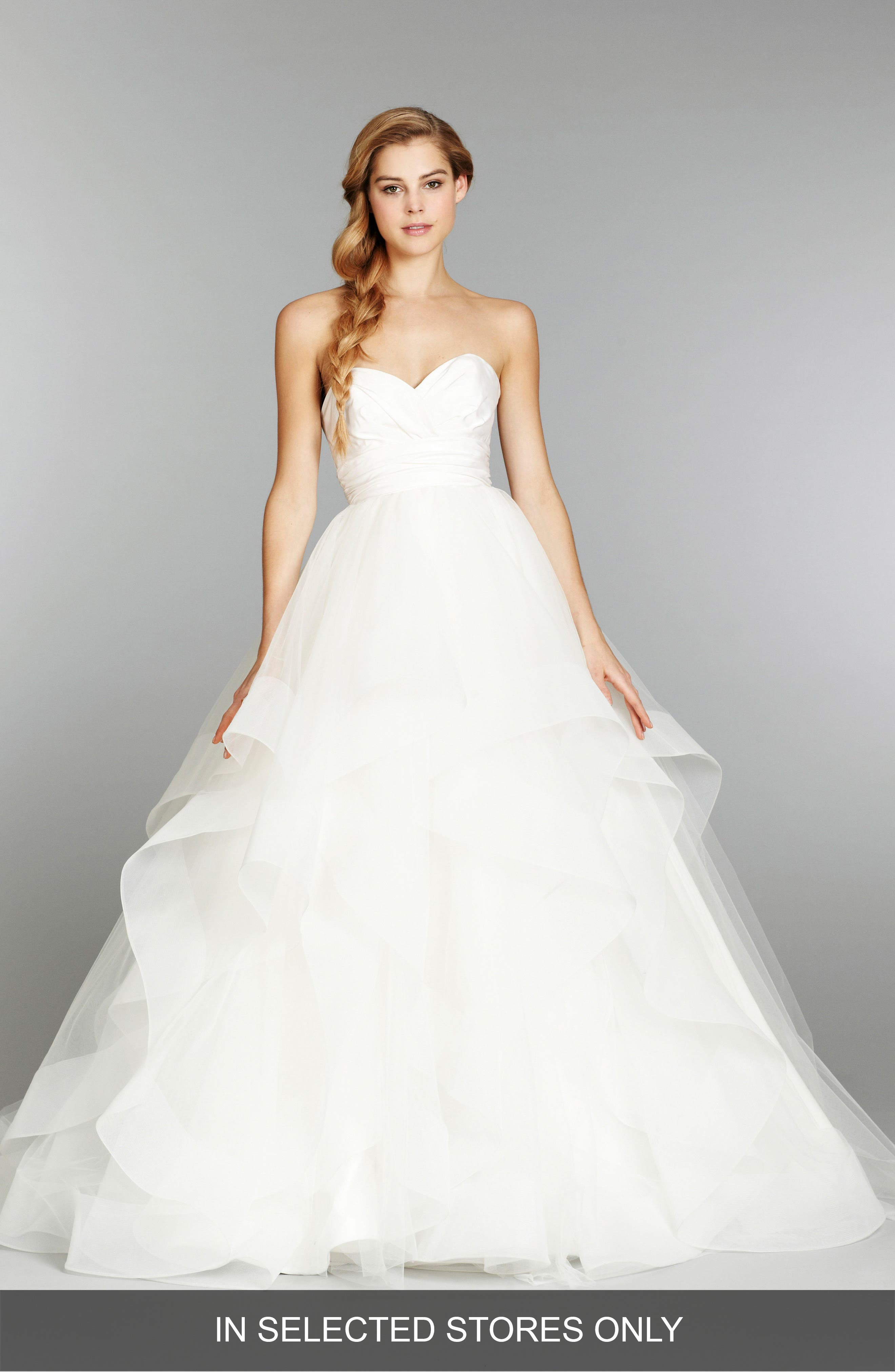 'Londyn' Silk & Tulle Ballgown,                             Main thumbnail 1, color,                             Ivory