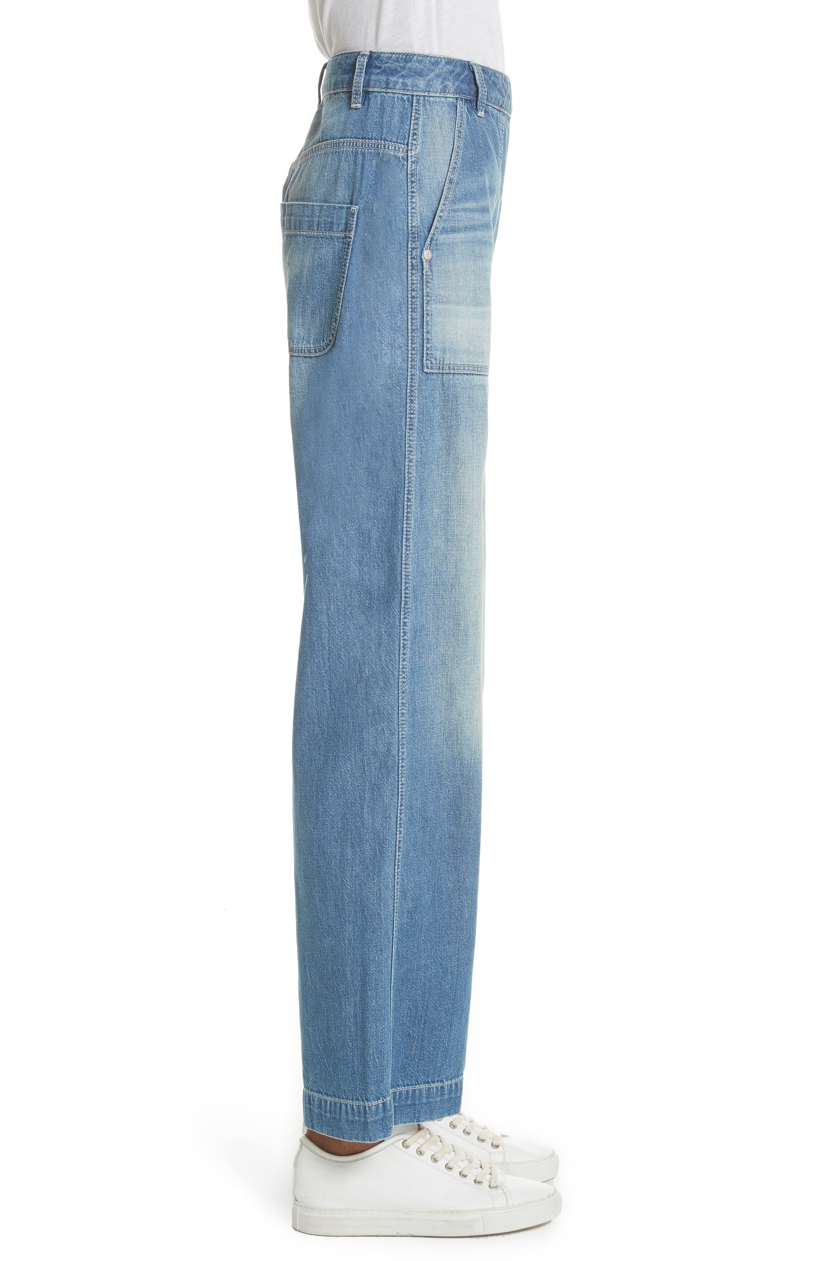 Drapey Denim Wide Leg Pants,                             Alternate thumbnail 3, color,                             Riviera Wash